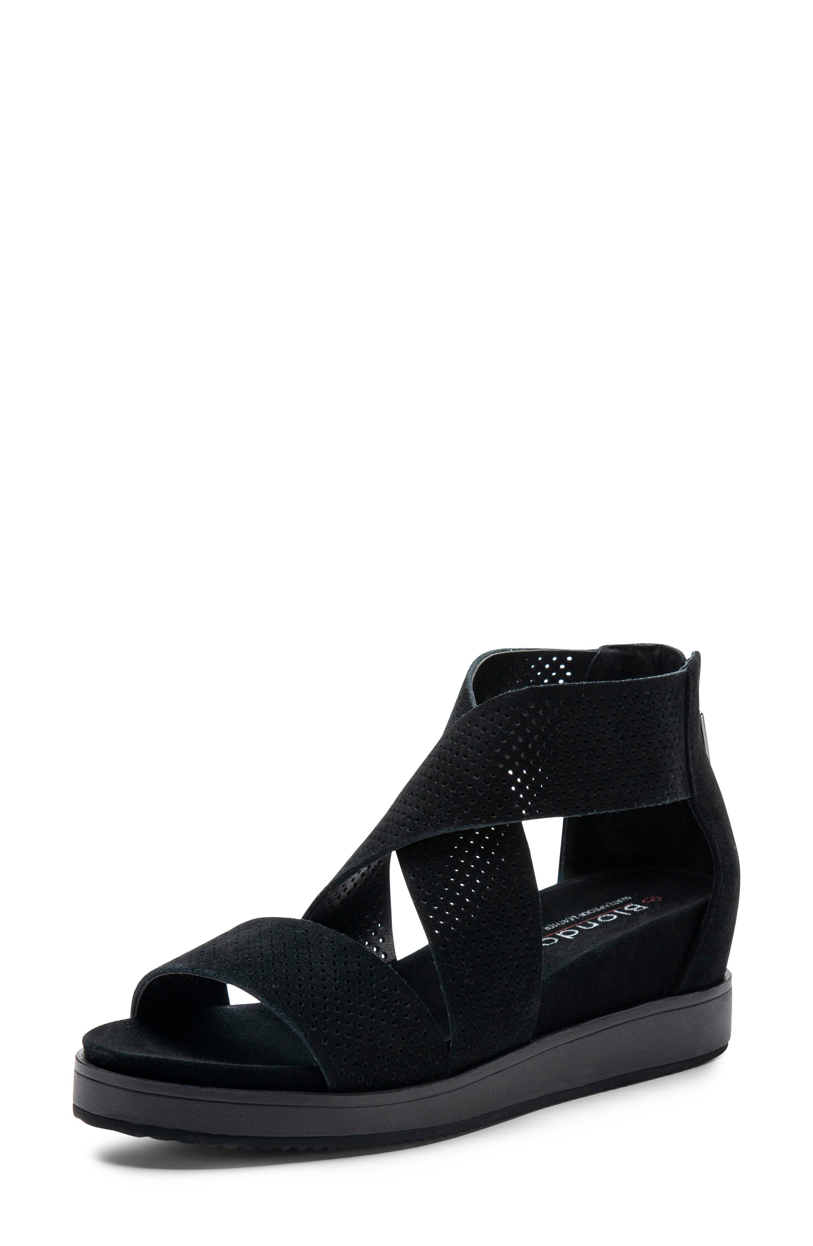Cassie Waterproof Sandal,                             Main thumbnail 1, color,                             BLACK SUEDE