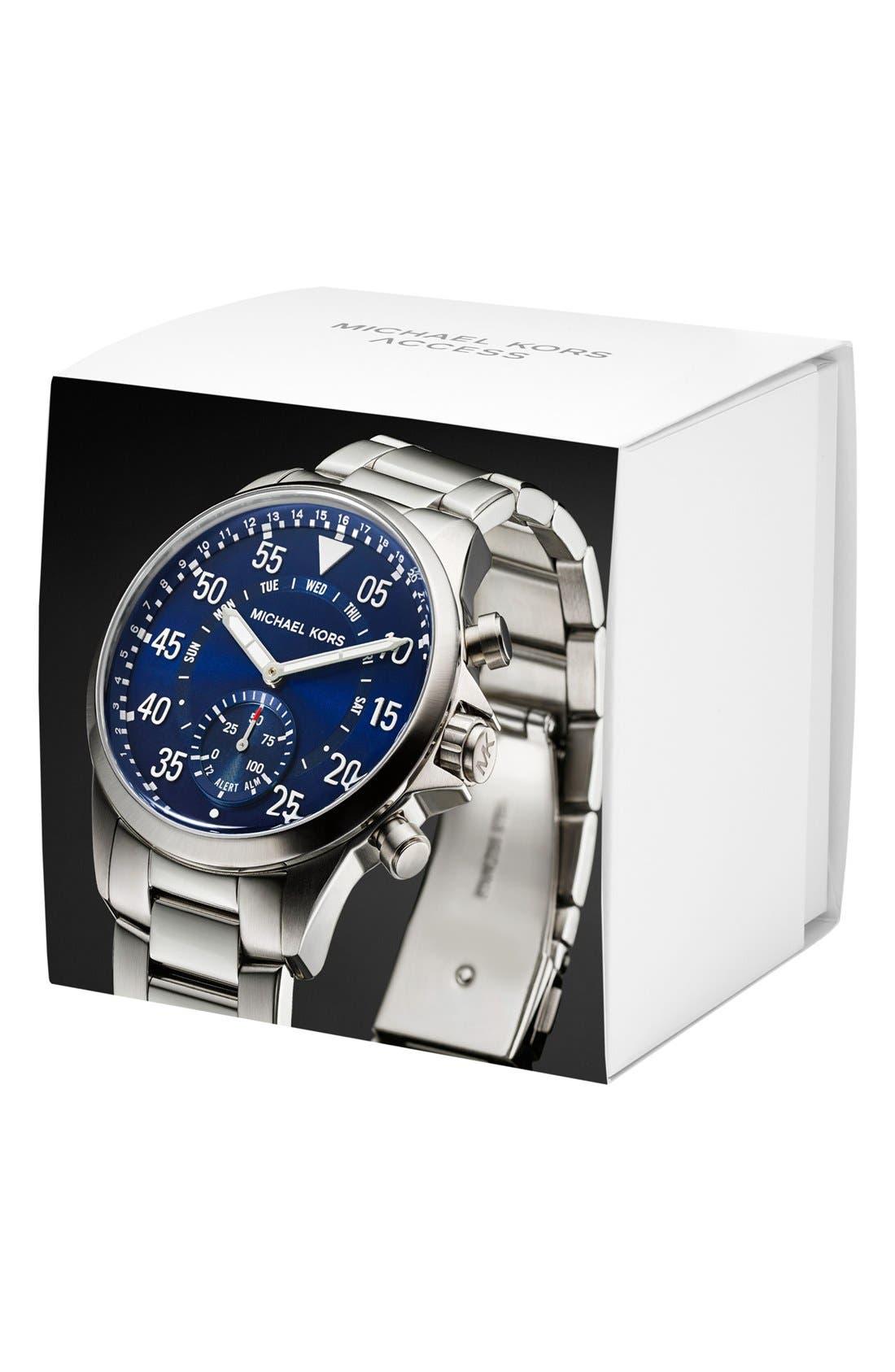 Michael Kors Gage Bracelet Smart Watch, 45mm,                             Alternate thumbnail 4, color,                             SILVER/ BLUE