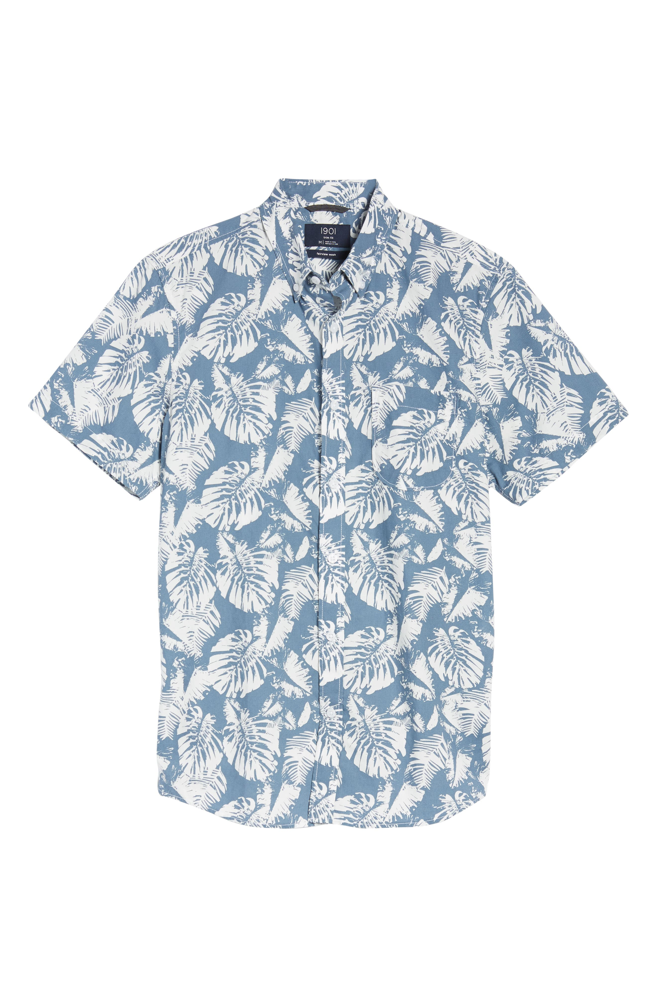 Trim Fit Palm Print Sport Shirt,                             Alternate thumbnail 6, color,                             410