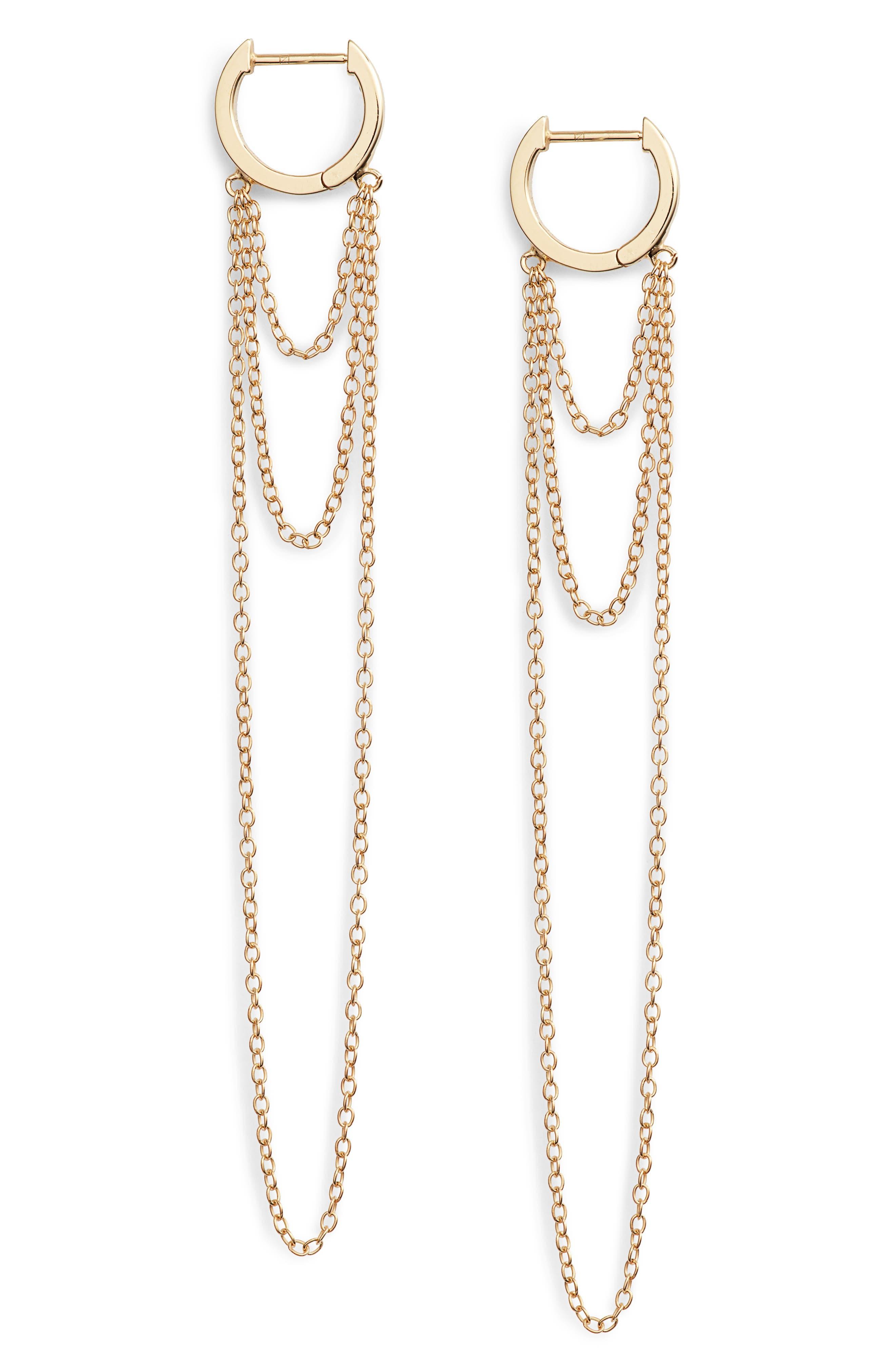 Elmar Huggie Chain earrings,                             Main thumbnail 1, color,                             710