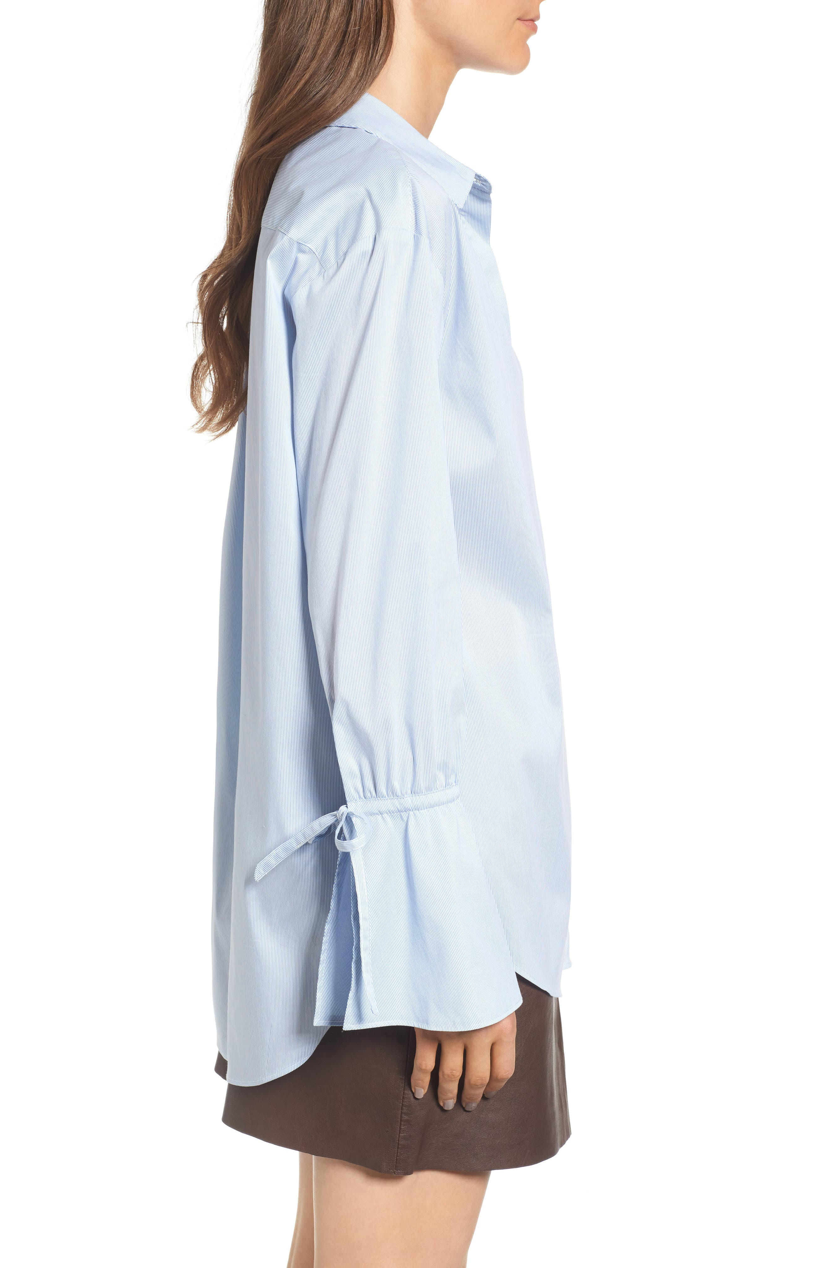 x Something Navy Ruffle Cuff Tunic,                             Alternate thumbnail 3, color,