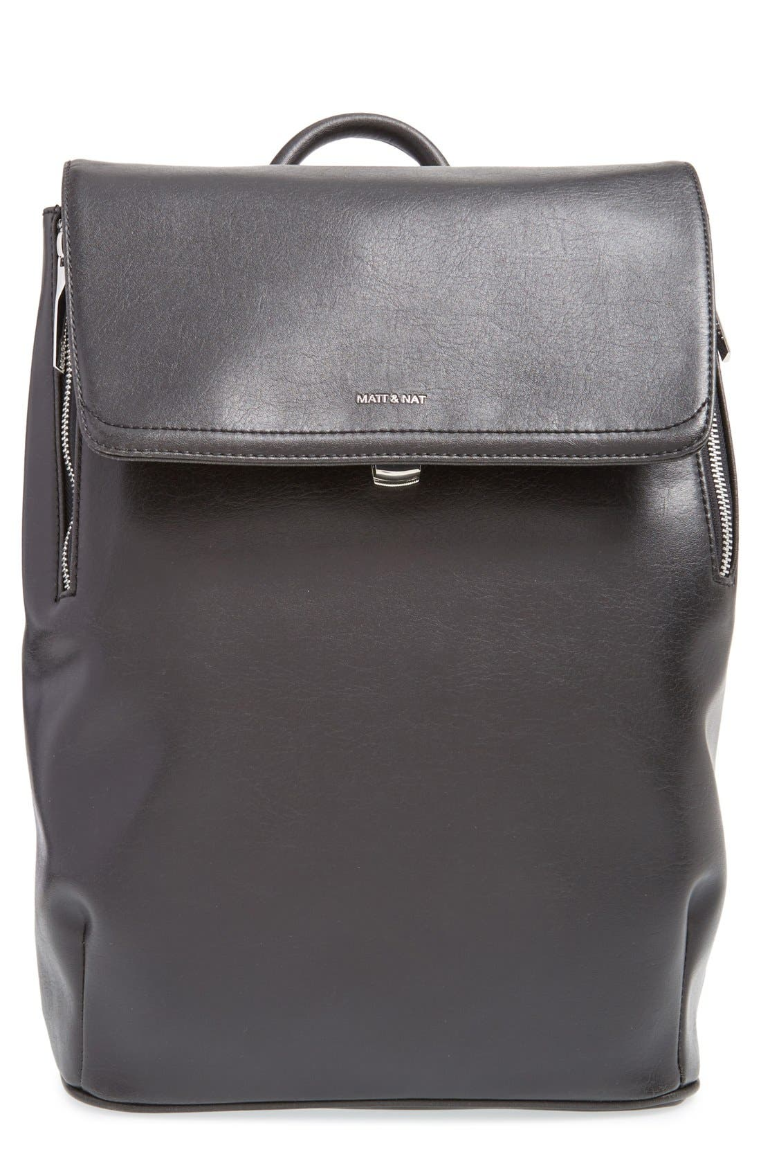 'Fabi' Faux Leather Laptop Backpack,                             Main thumbnail 1, color,                             BLACK