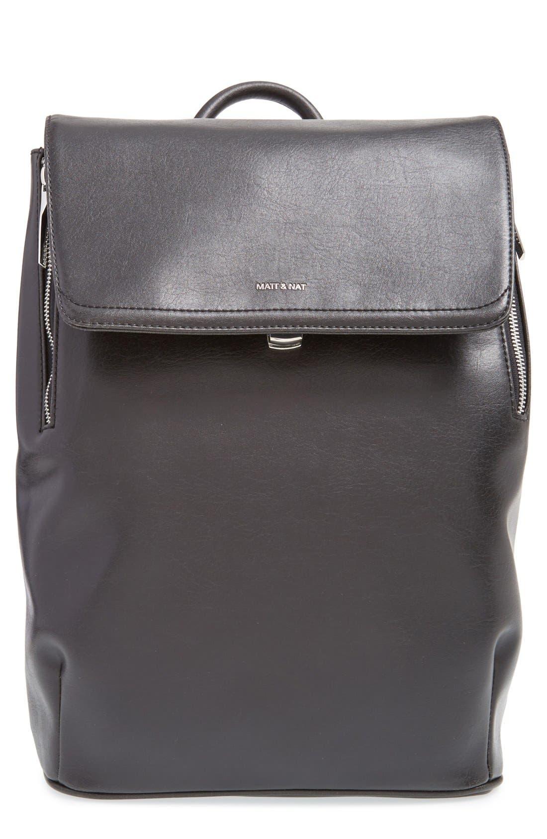 'Fabi' Faux Leather Laptop Backpack,                         Main,                         color, BLACK
