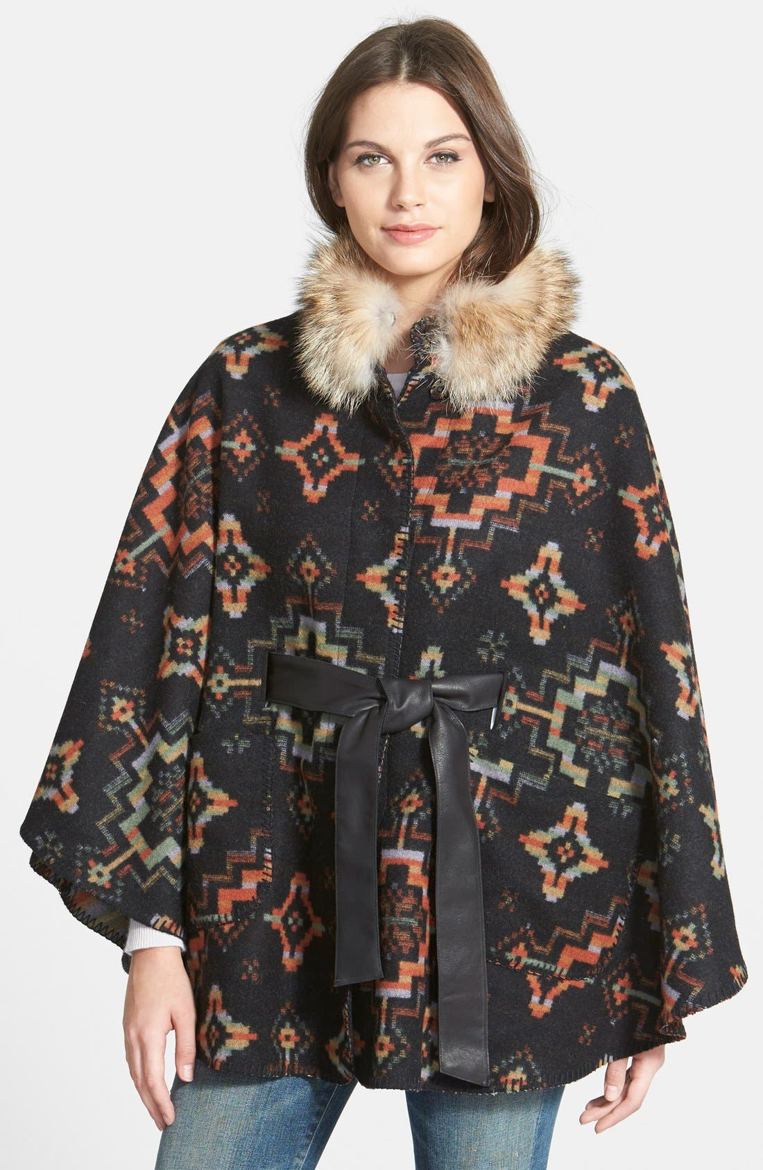Blanket Cape with Genuine Coyote Fur,                             Main thumbnail 1, color,                             003