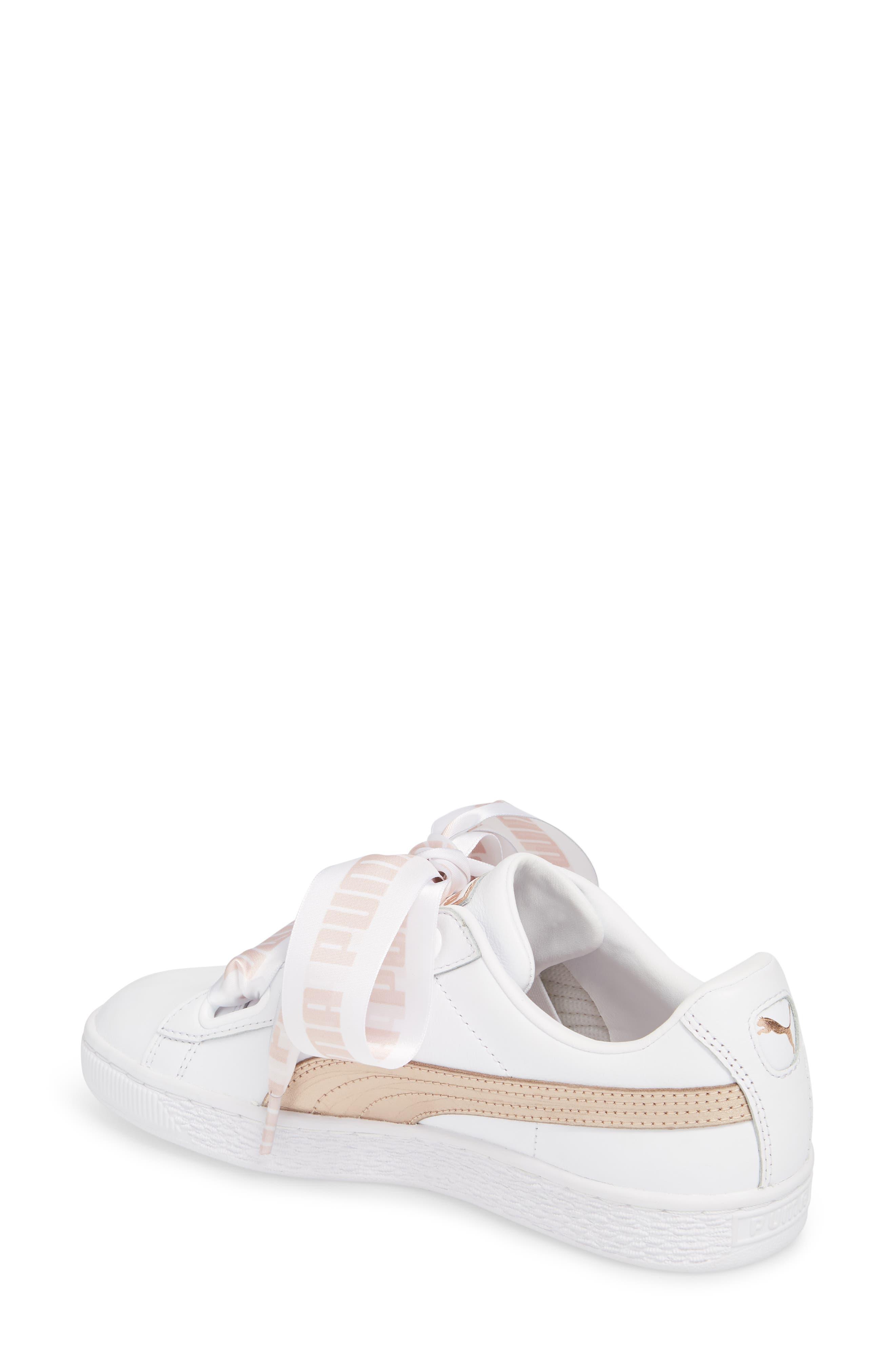 Basket Heart Sneaker,                             Alternate thumbnail 2, color,                             WHITE/ ROSE GOLD LEATHER