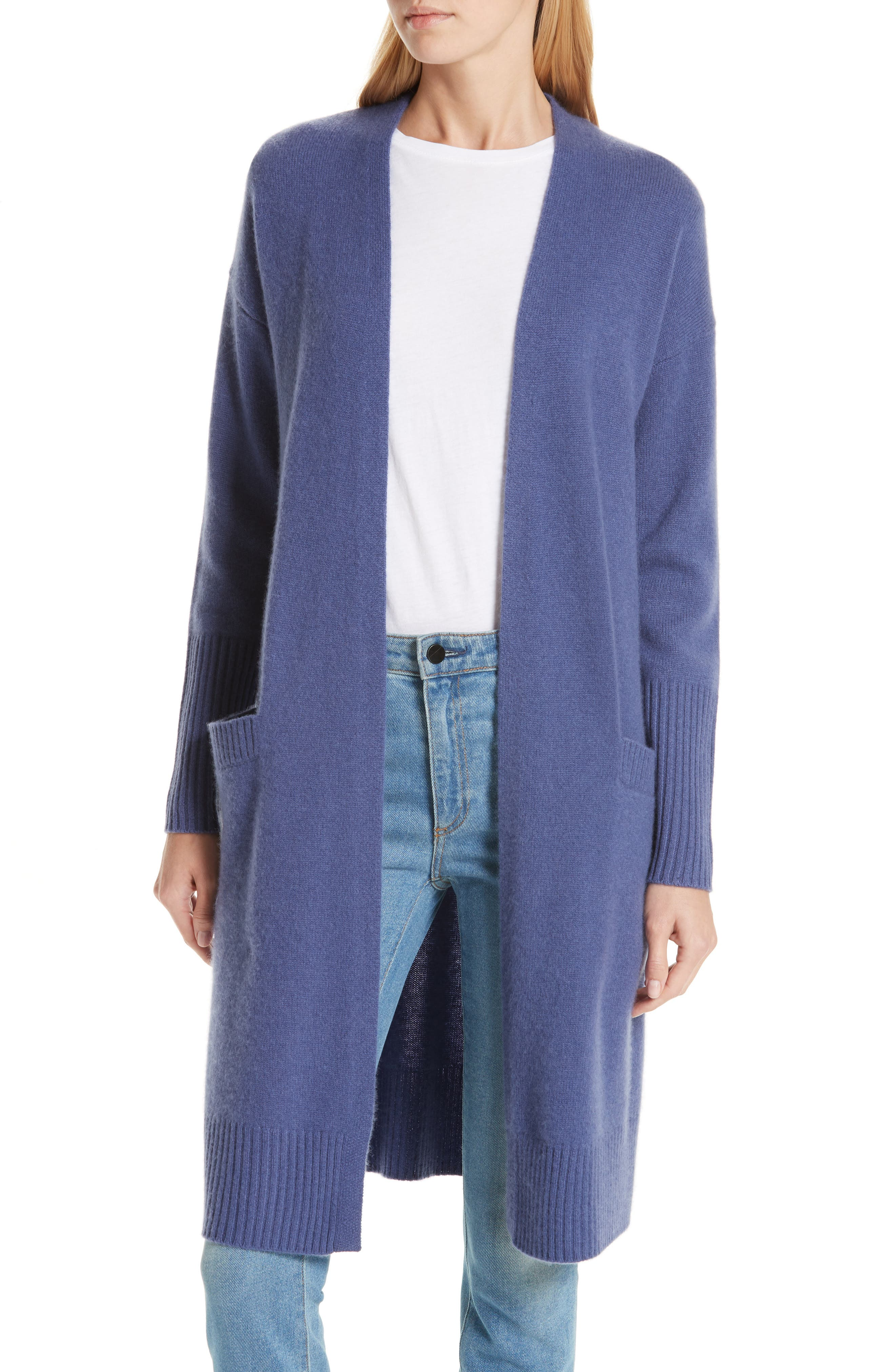 Boiled Cashmere Open Cardigan,                             Main thumbnail 1, color,                             BLUE MARLIN