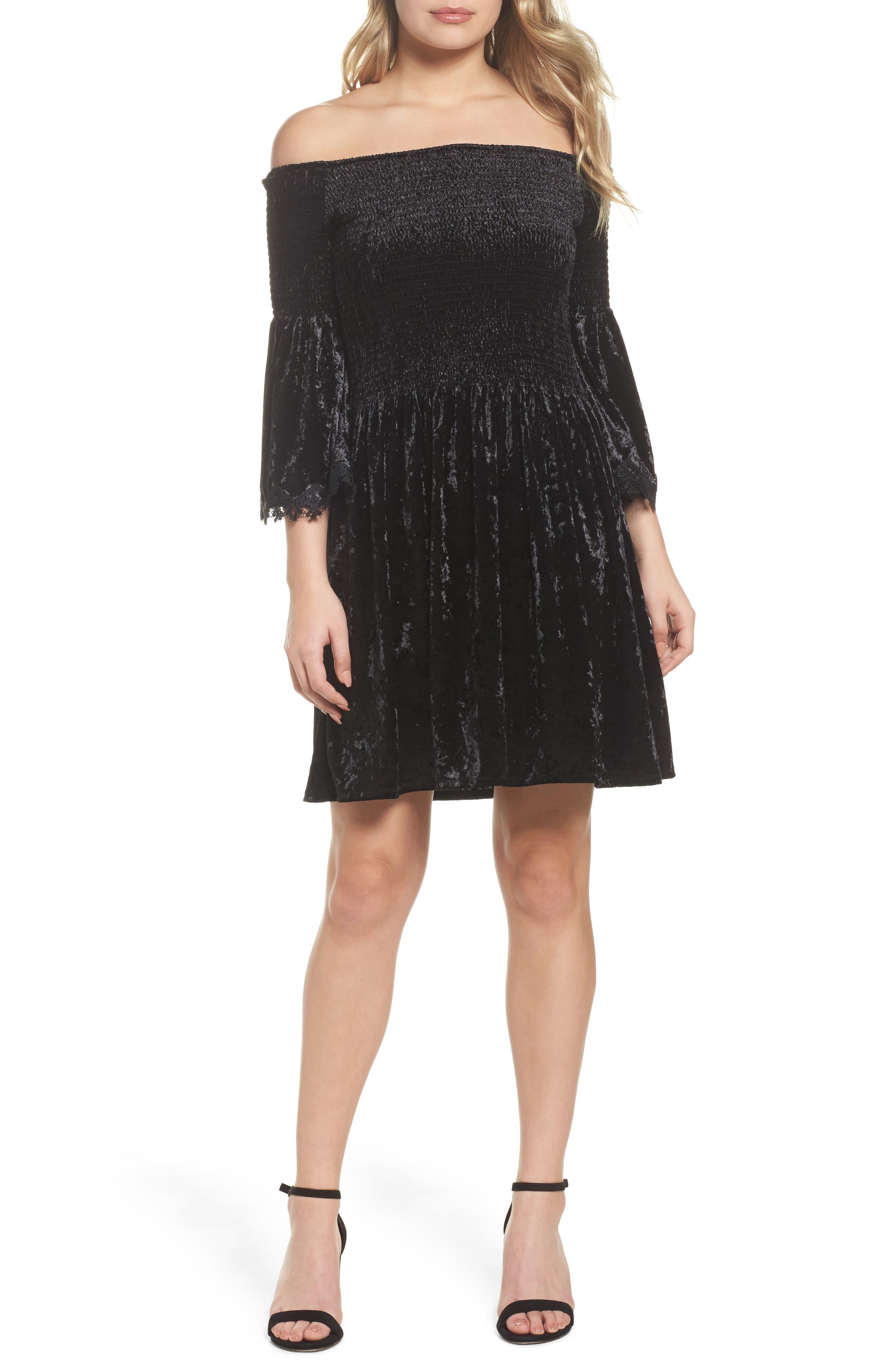 Donella Off the Shoulder Velvet Dress,                             Main thumbnail 1, color,