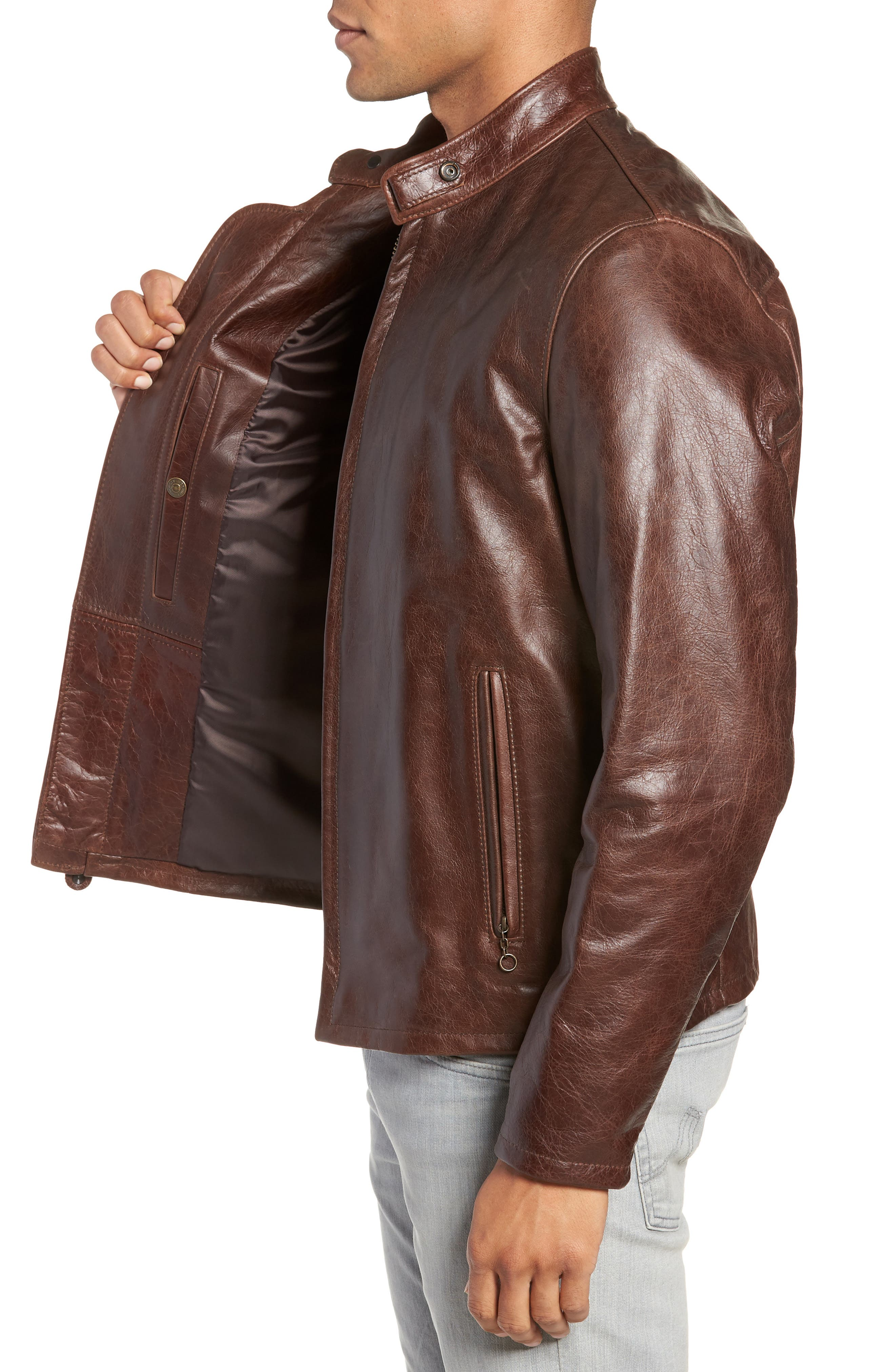 Café Racer Waxy Cowhide Leather Jacket,                             Alternate thumbnail 4, color,                             BROWN