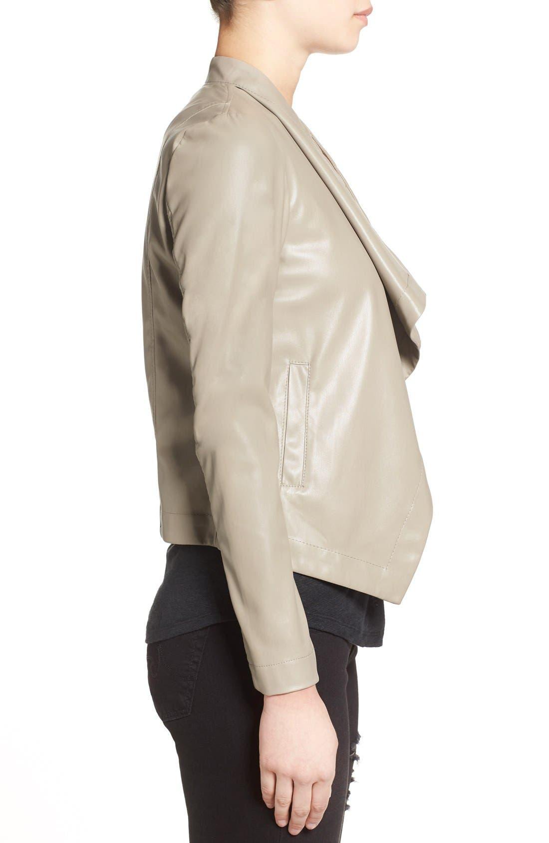 'Peppin' Drape Front Faux Leather Jacket,                             Alternate thumbnail 24, color,