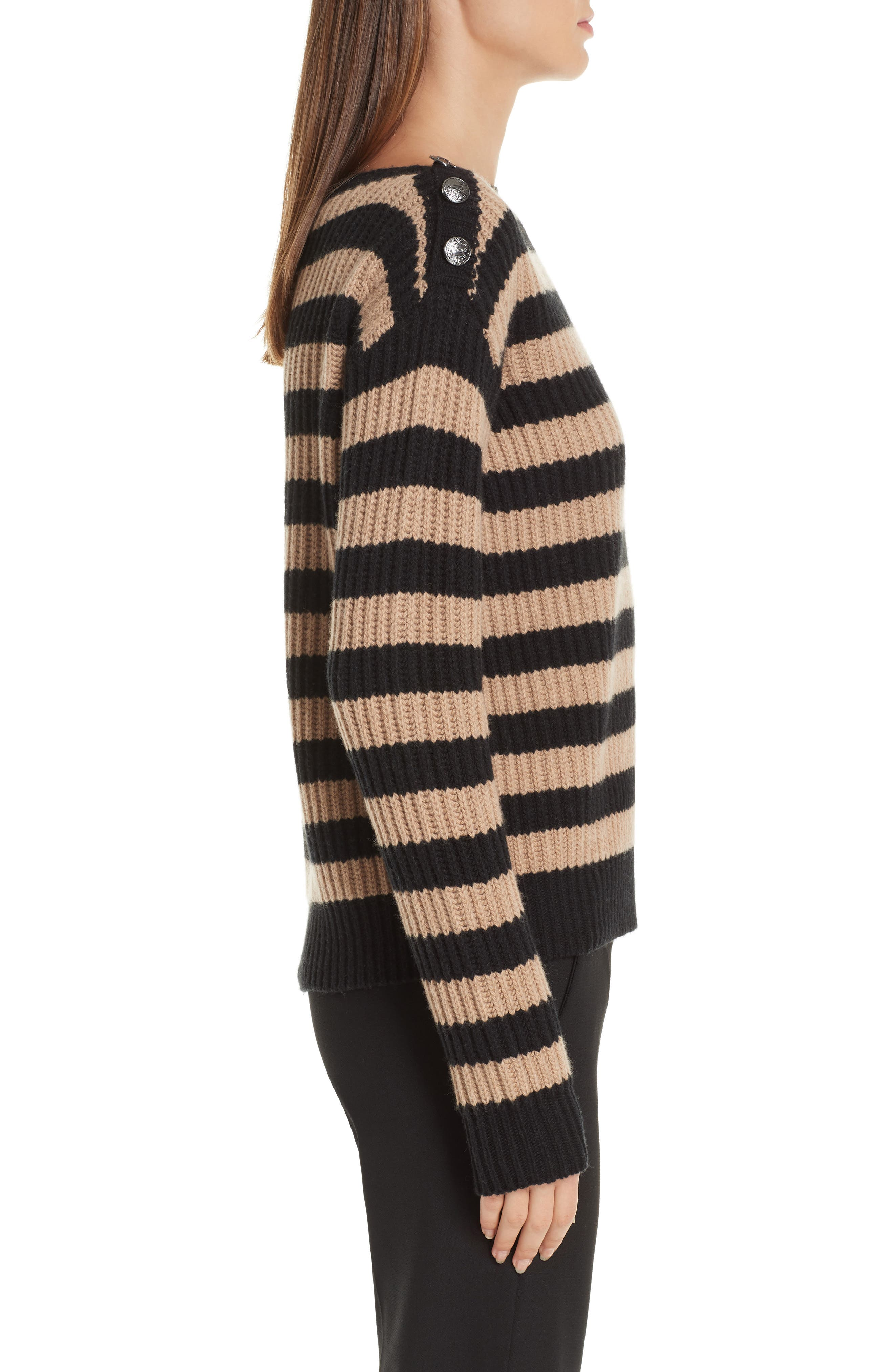Salpa Stripe Wool & Cashmere Pullover,                             Alternate thumbnail 3, color,                             STRIPED CAMEL