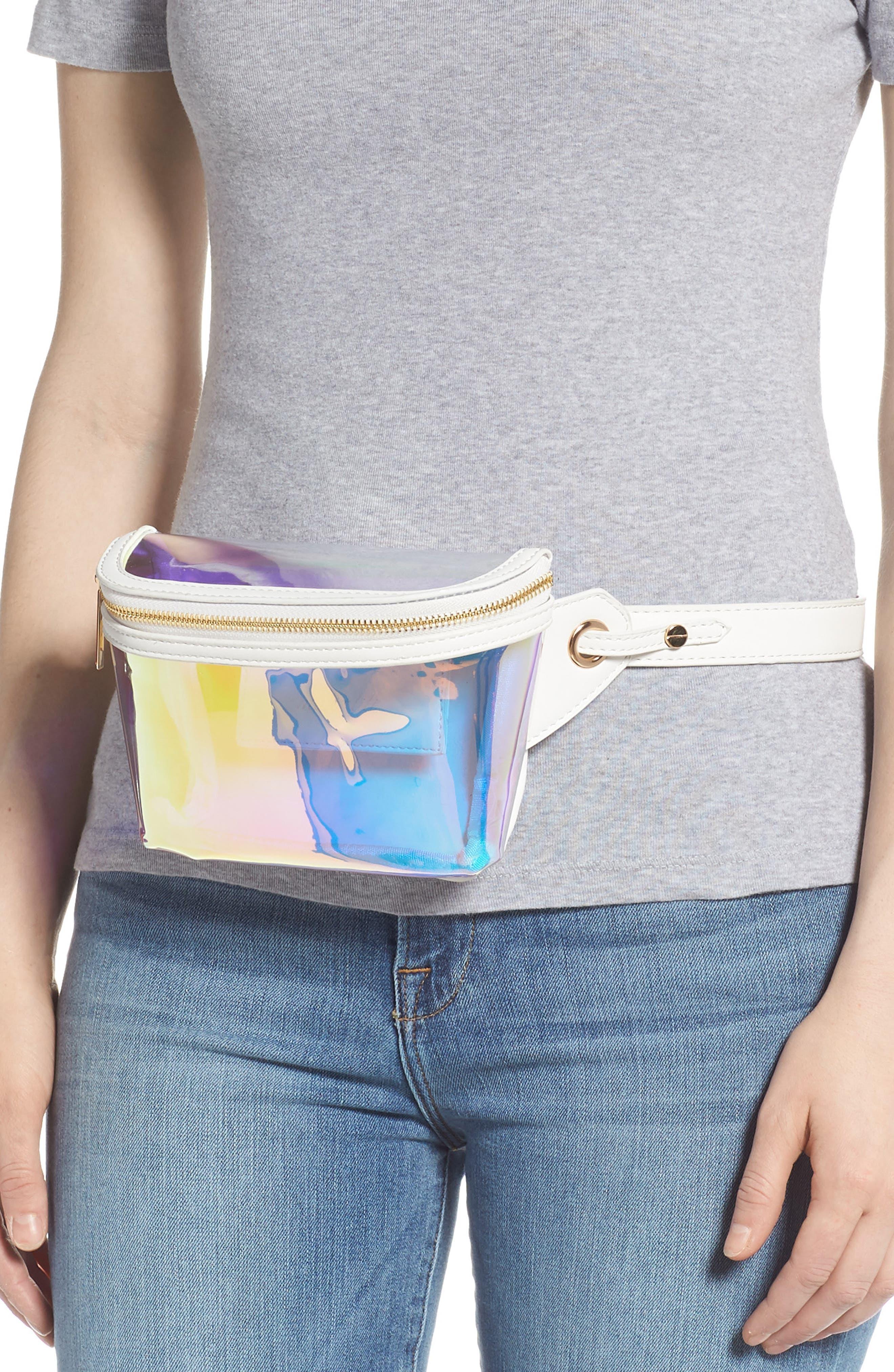 Irina Clear Belt Bag,                             Alternate thumbnail 2, color,                             HOLOGRAPHIC/ WHITE