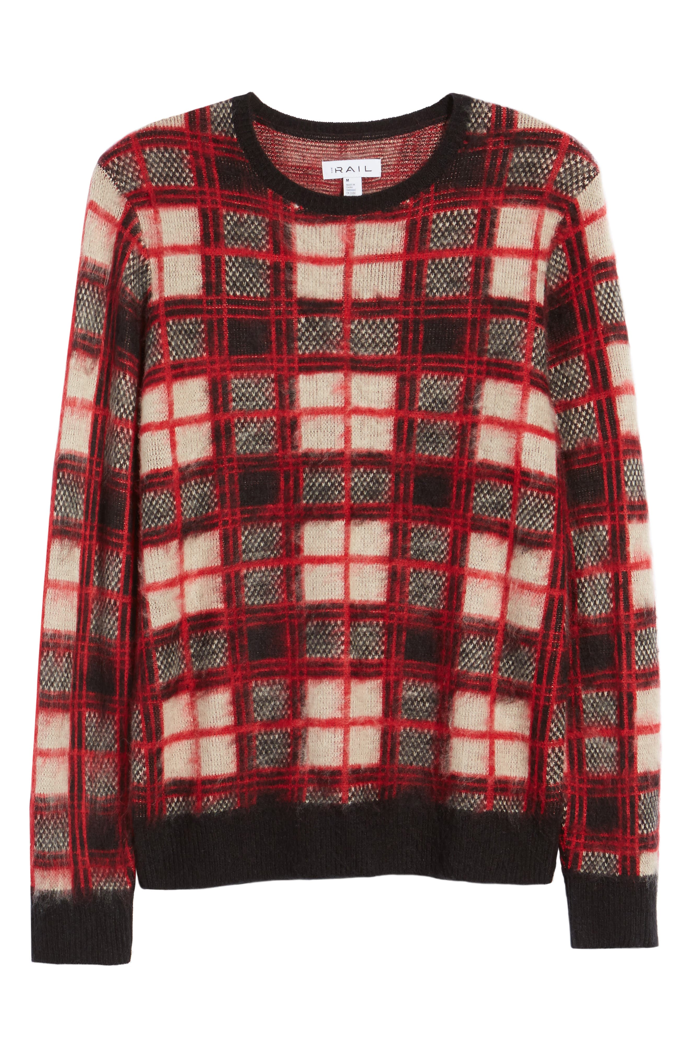 Fuzzy Plaid Sweater,                             Alternate thumbnail 6, color,                             610
