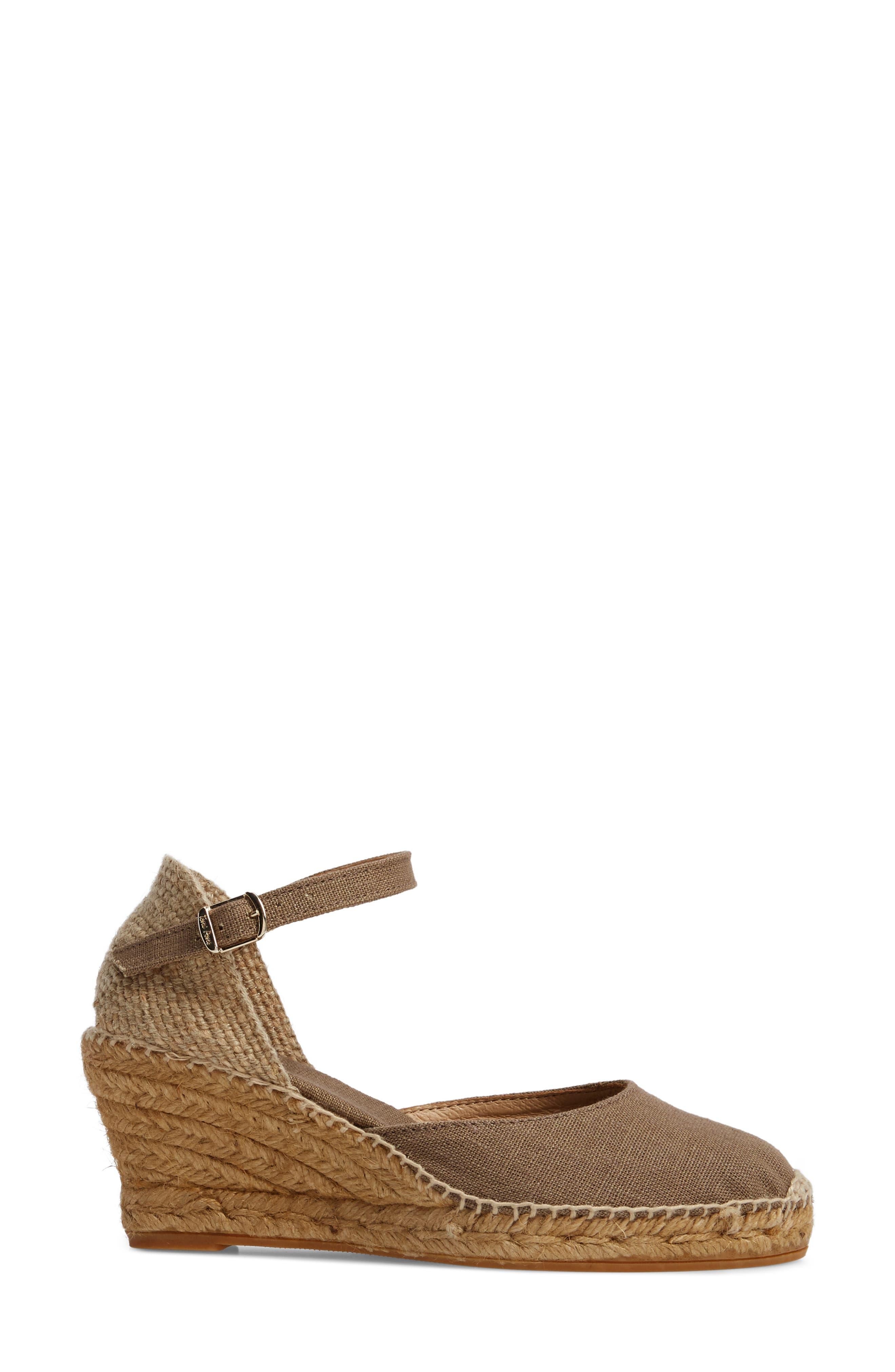 'Caldes' Linen Wedge Sandal,                             Alternate thumbnail 3, color,                             TAUPE FABRIC