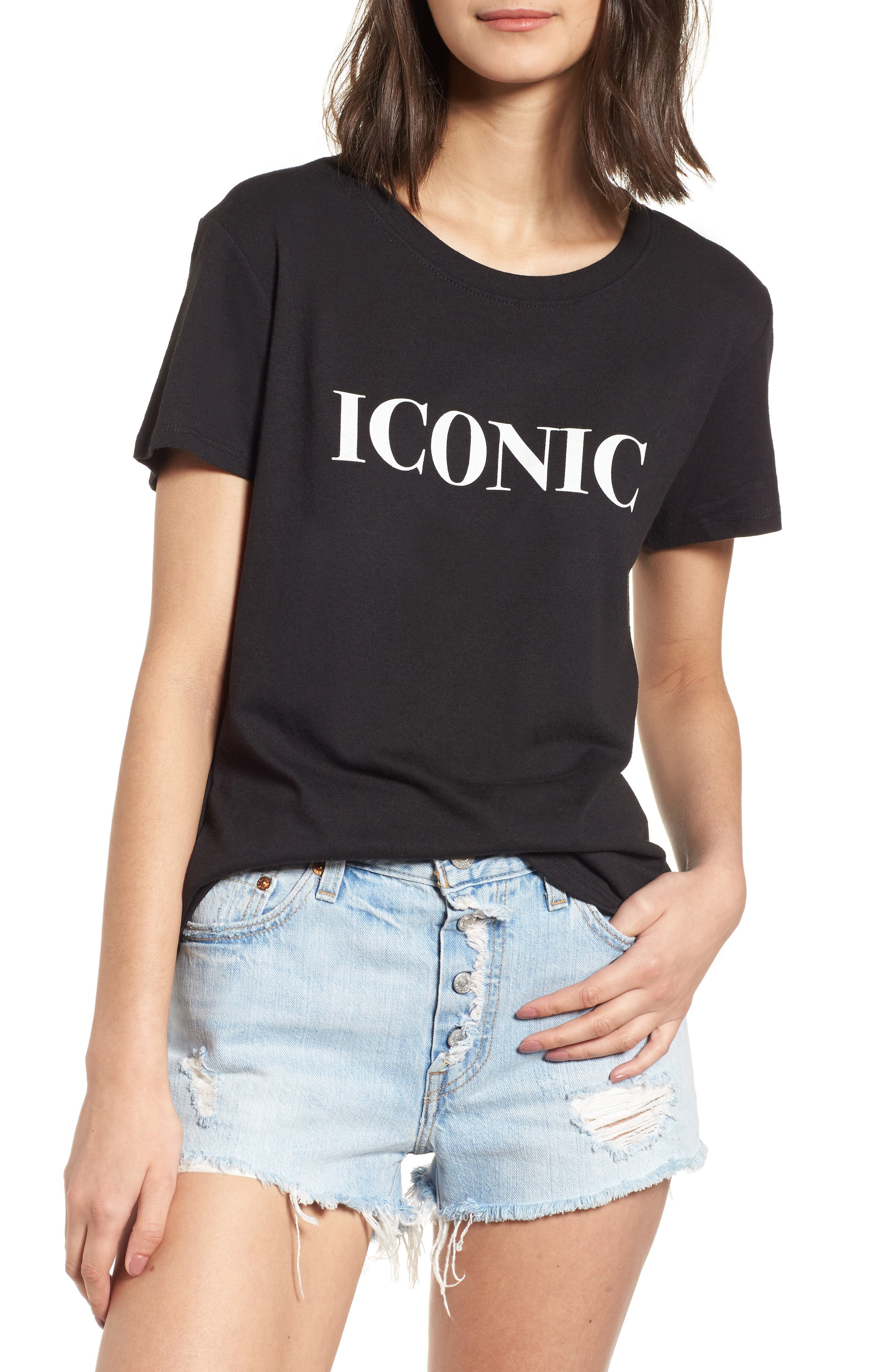 Iconic Slouched Graphic Tee,                             Main thumbnail 1, color,                             001