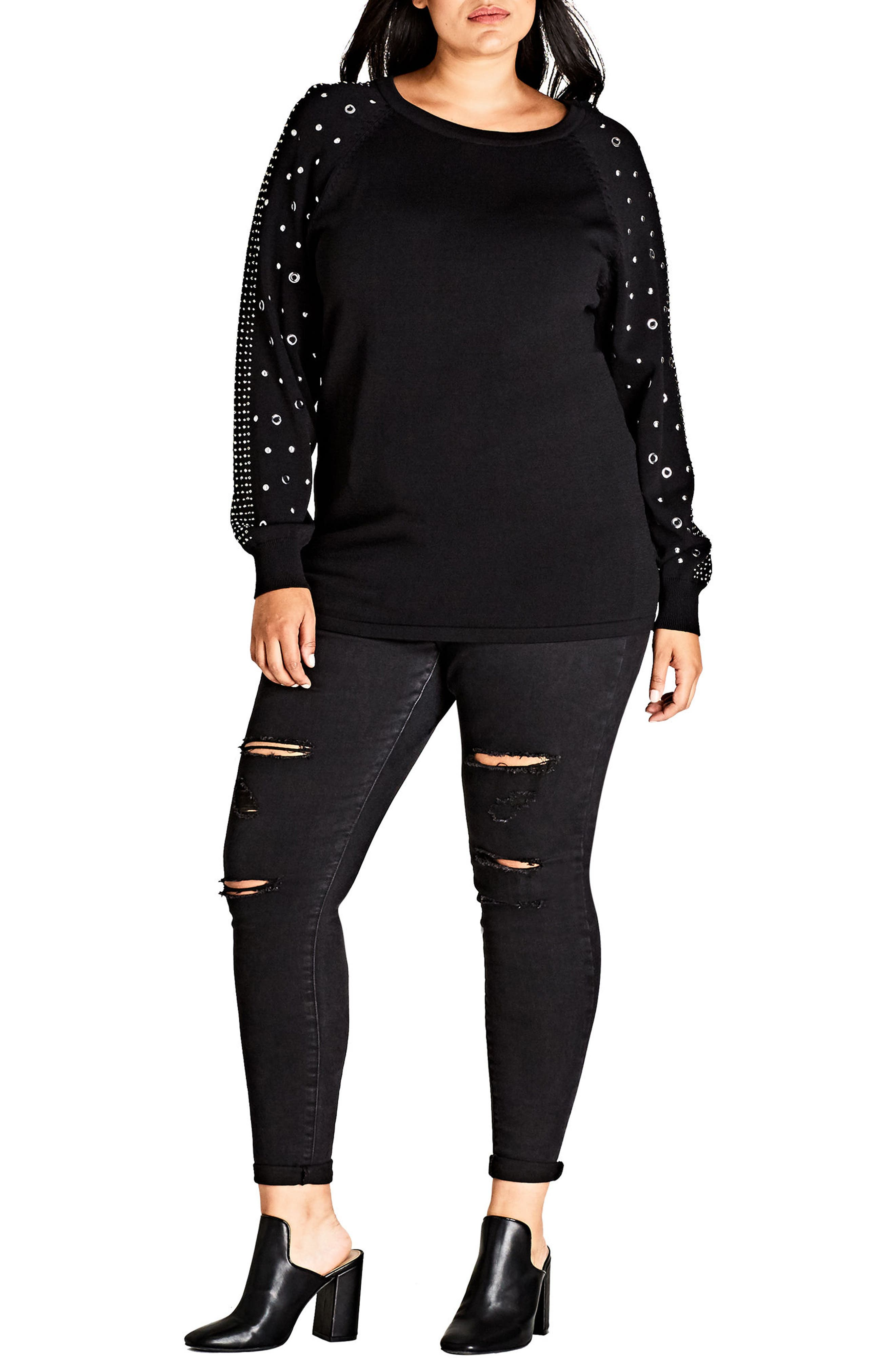 Studded Sleeve Sweatshirt,                         Main,                         color, 001