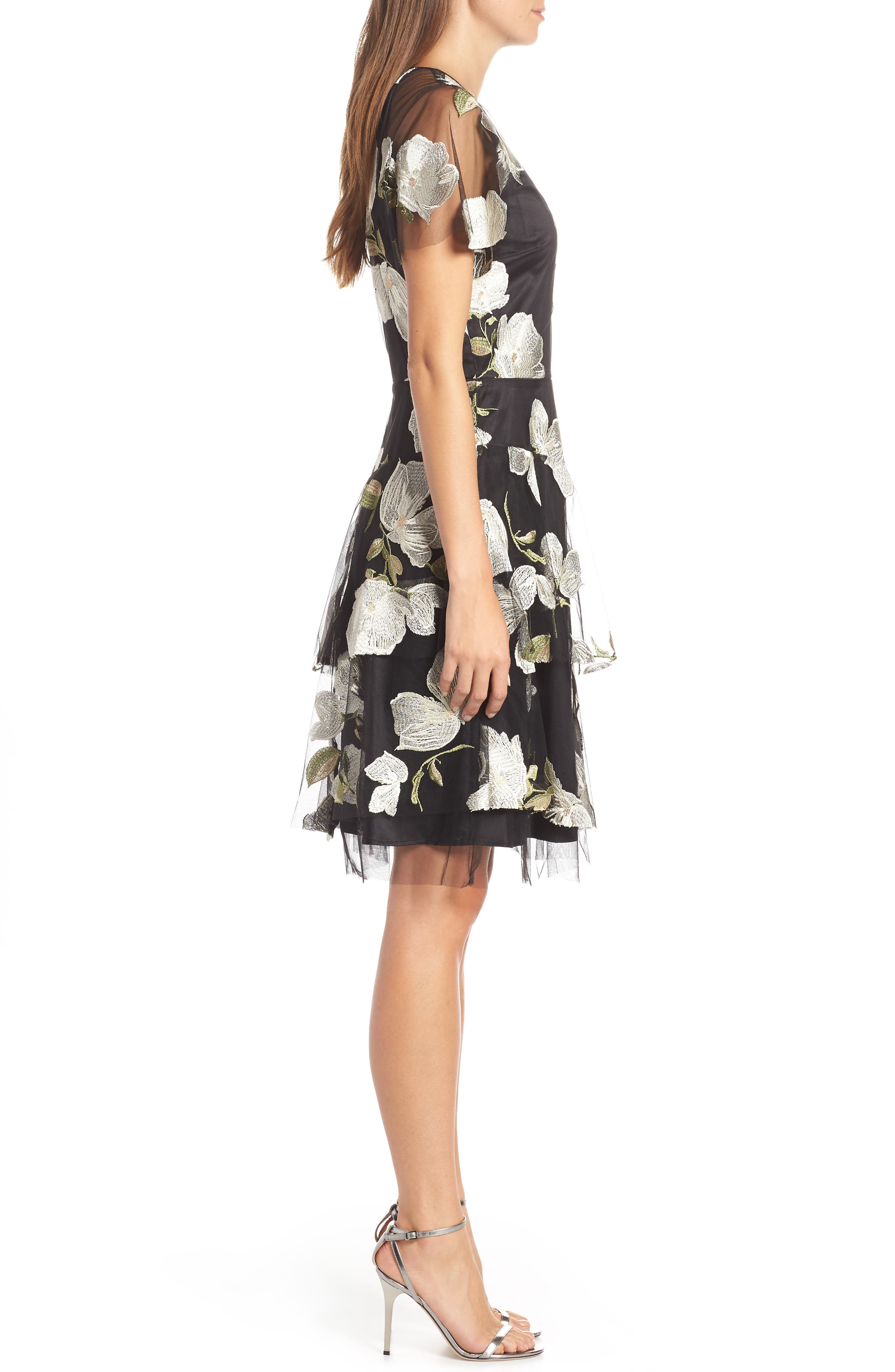 Embroidered Fit & Flare Dress,                             Alternate thumbnail 3, color,                             003