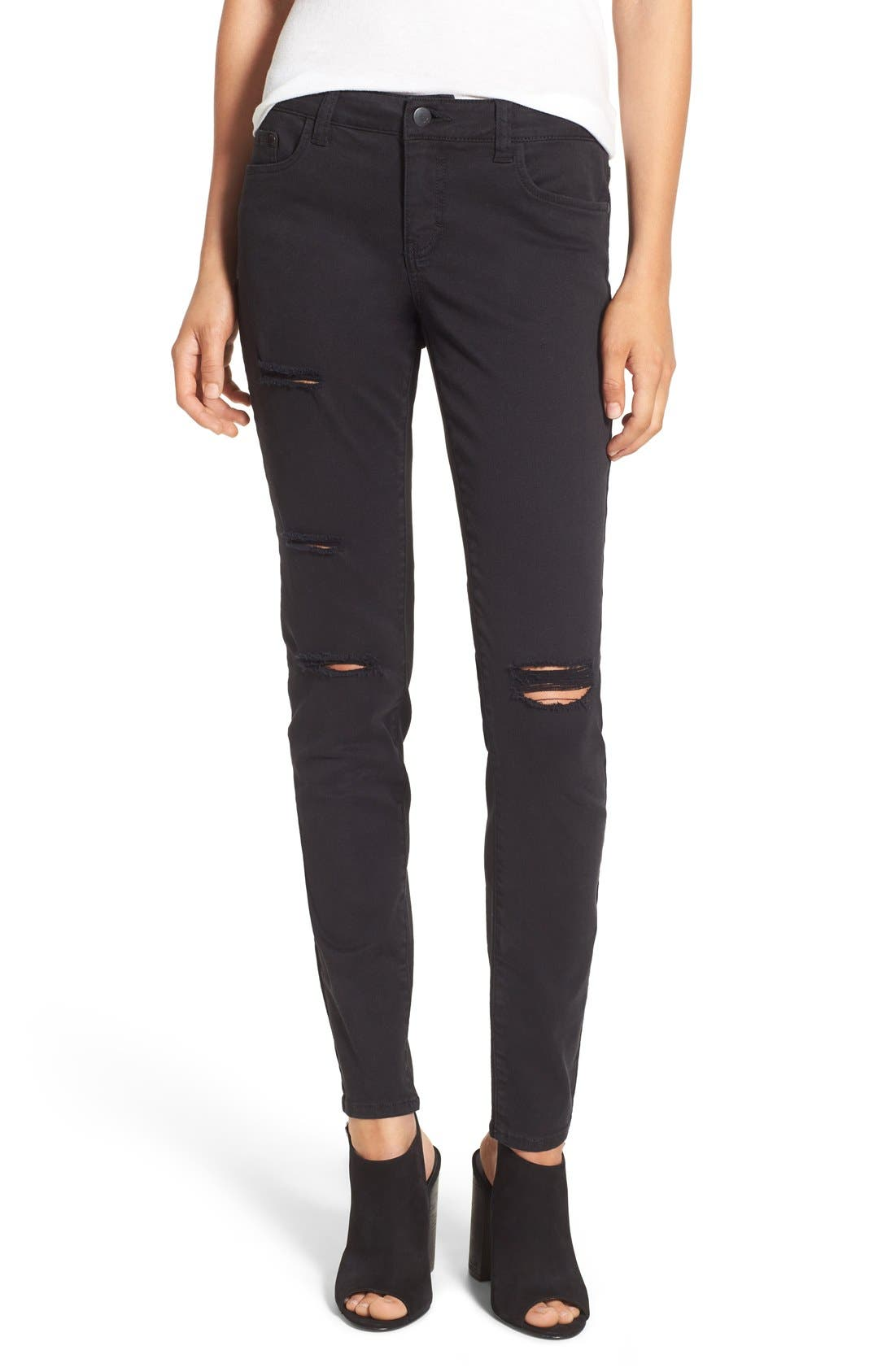 Destroyed Skinny Jeans,                             Main thumbnail 1, color,                             001