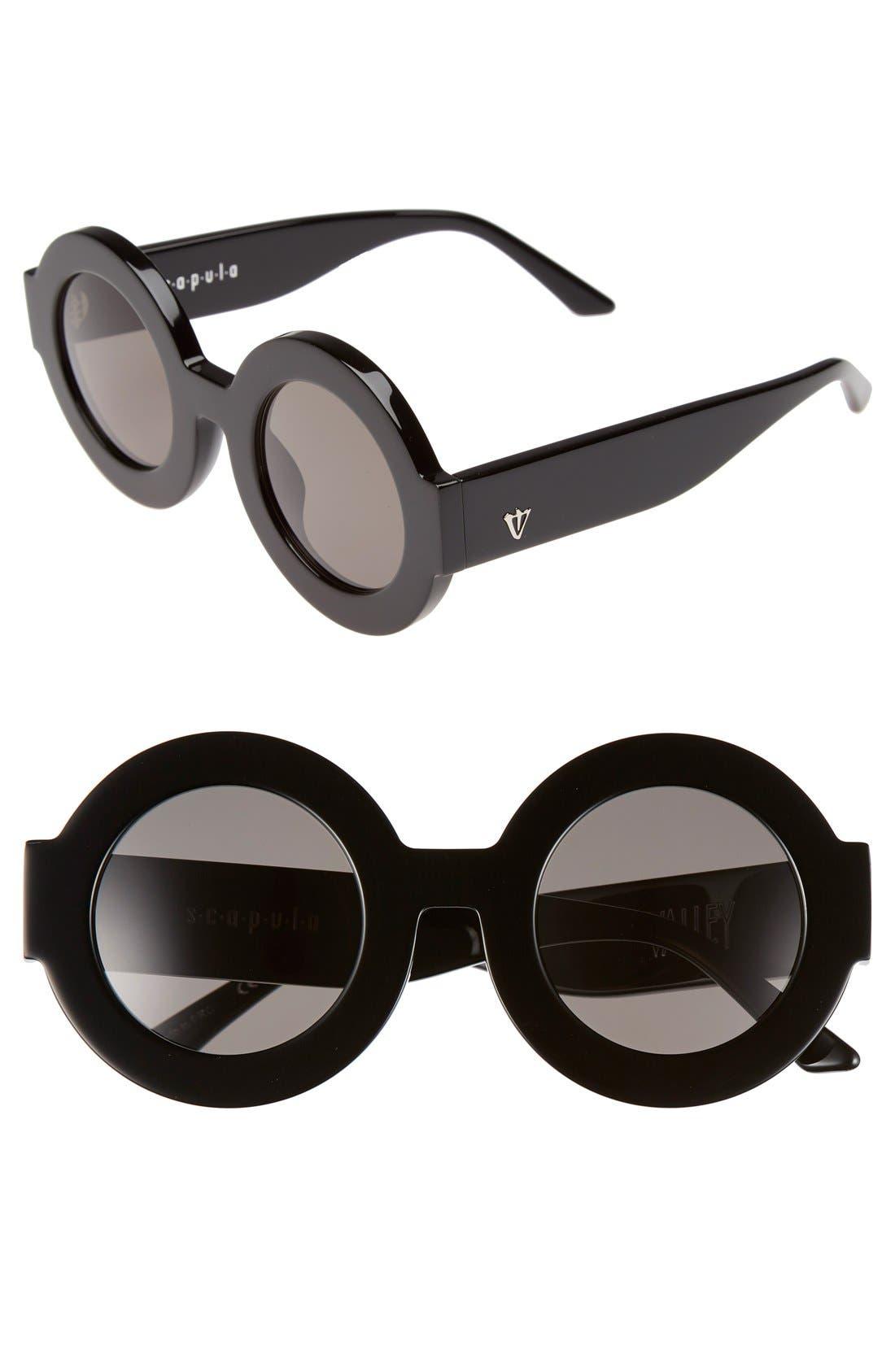 'Scapula' 45mm Round Sunglasses,                             Main thumbnail 1, color,                             001
