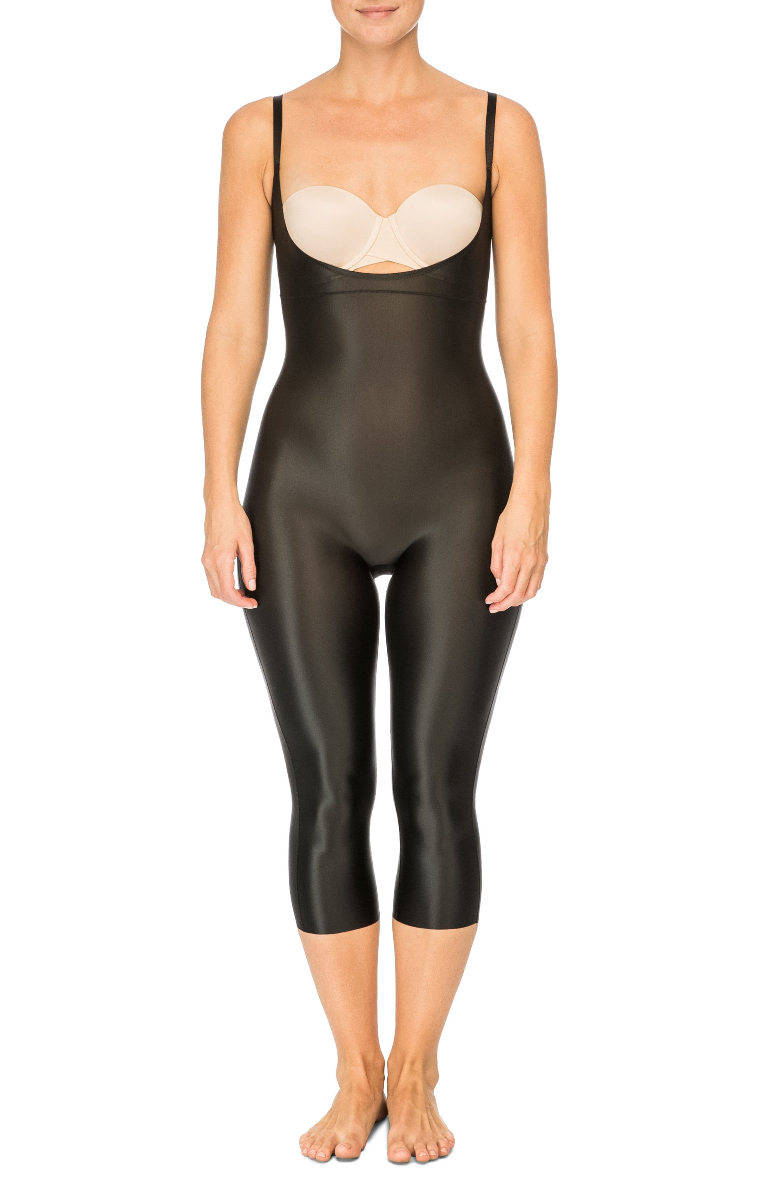 SPANX<SUP>®</SUP>,                             Suit Your Fancy Open-Bust Shaper Catsuit,                             Main thumbnail 1, color,                             VERY BLACK