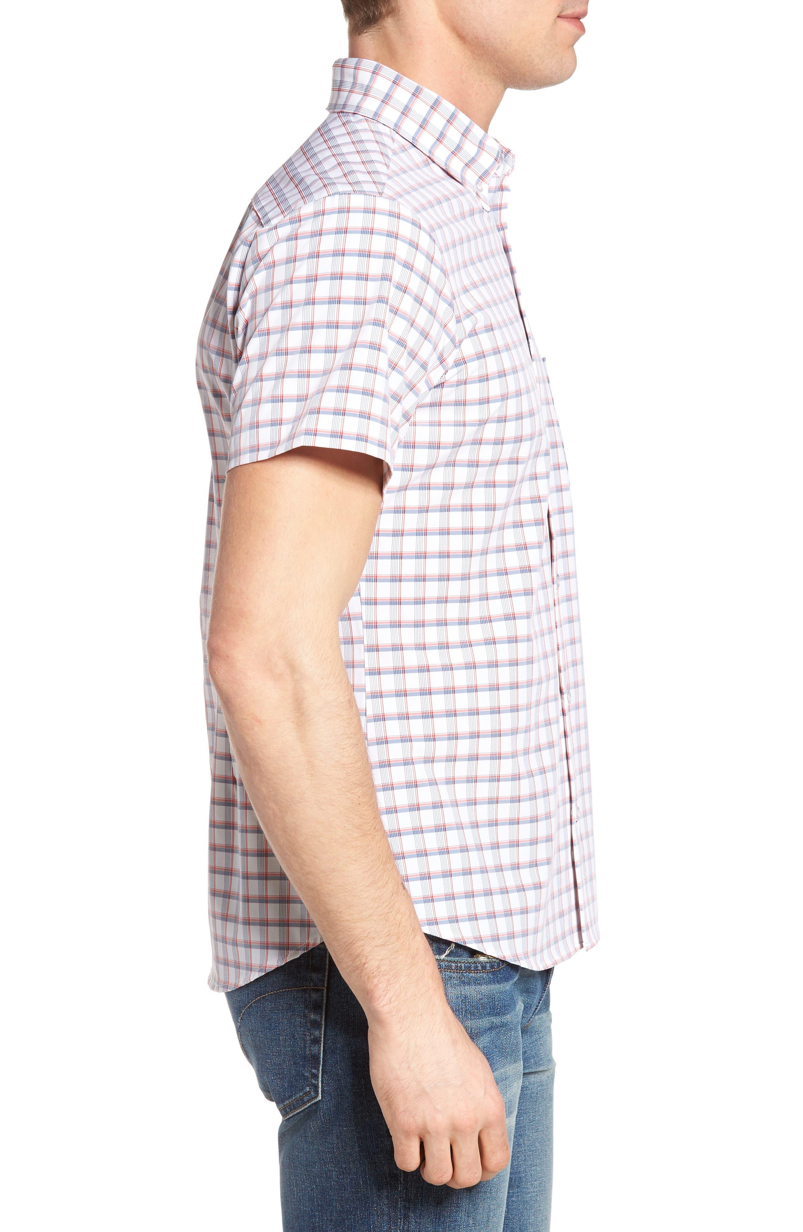 Sanford Slim Fit Plaid Performance Sport Shirt,                             Alternate thumbnail 3, color,                             600