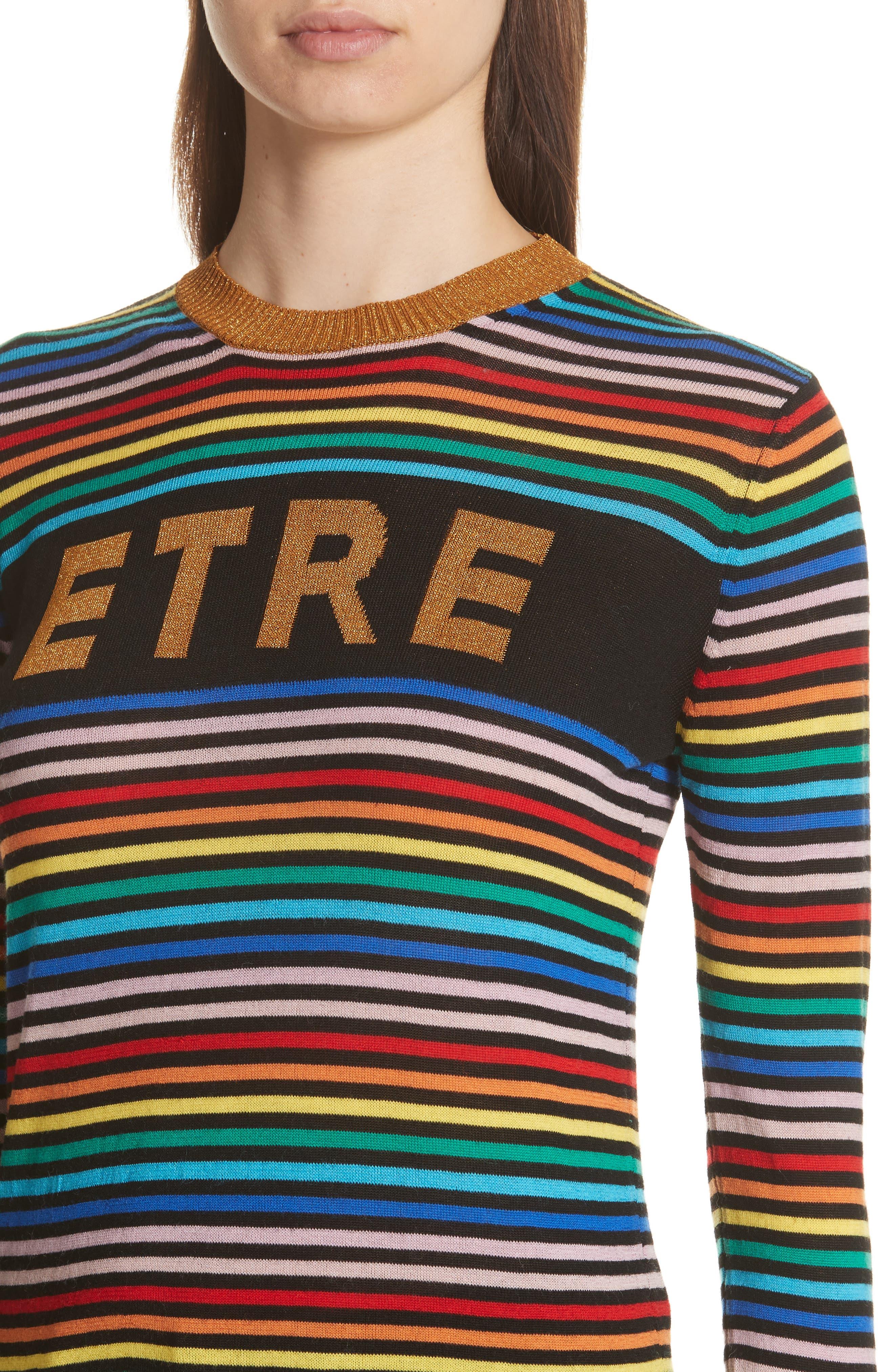 être cécile Stripe Knit Boyfriend Sweater,                             Alternate thumbnail 4, color,                             001