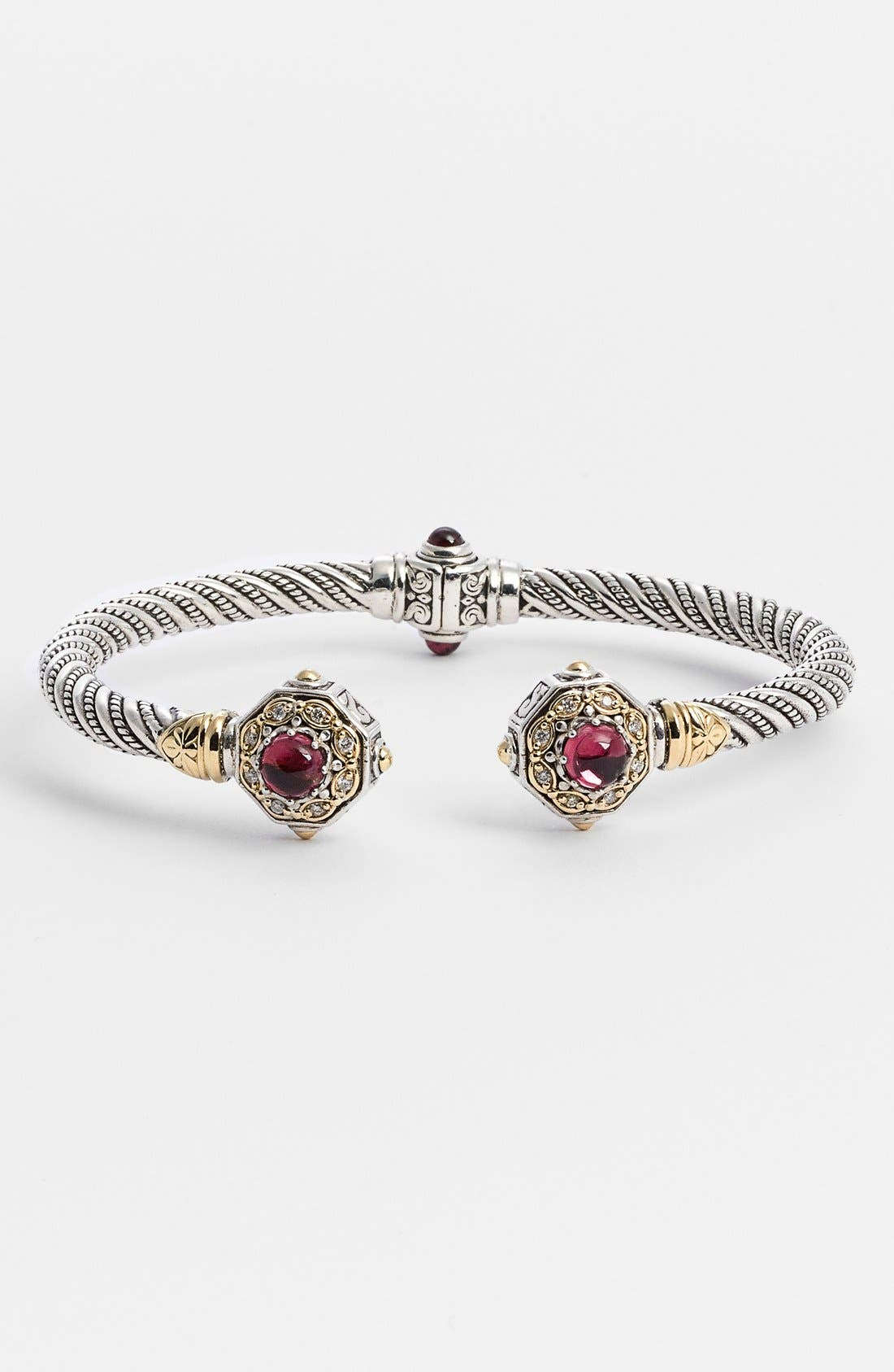 'Hermione' Diamond Hinged Cuff,                             Main thumbnail 1, color,                             SILVER/ PINK