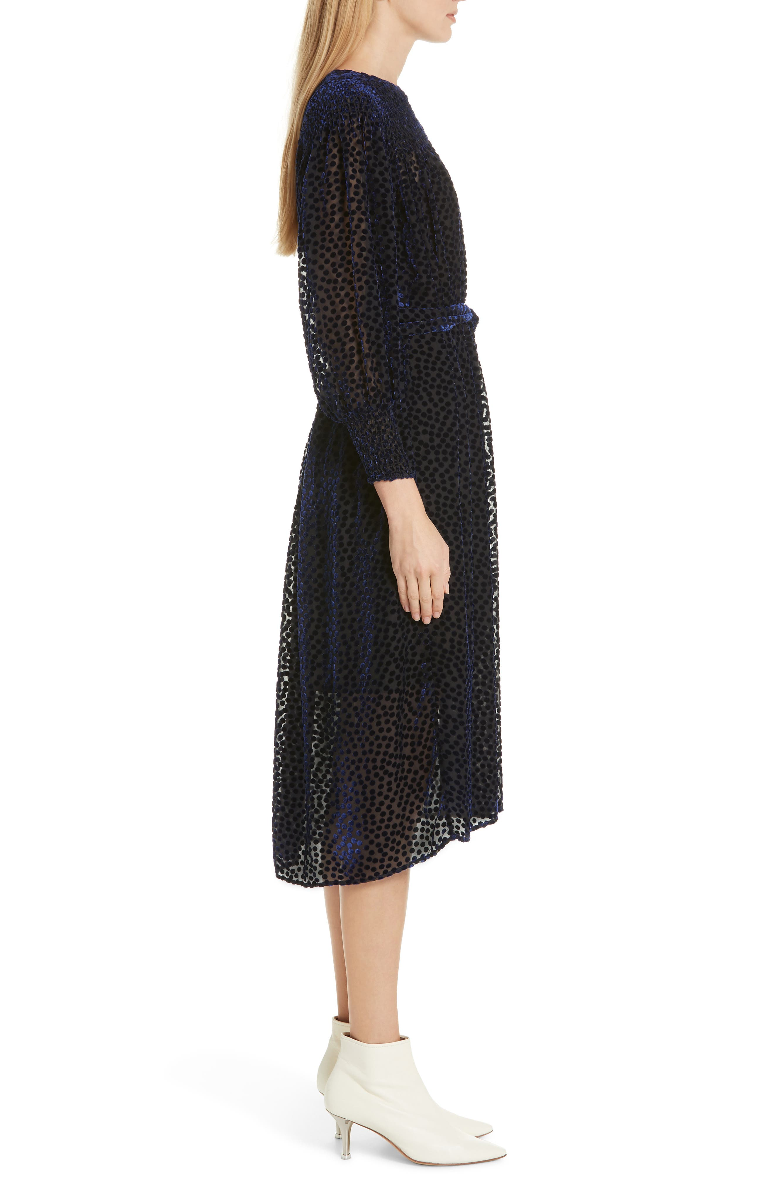 The Merry Velvet Burnout Dress,                             Alternate thumbnail 3, color,                             NAVY