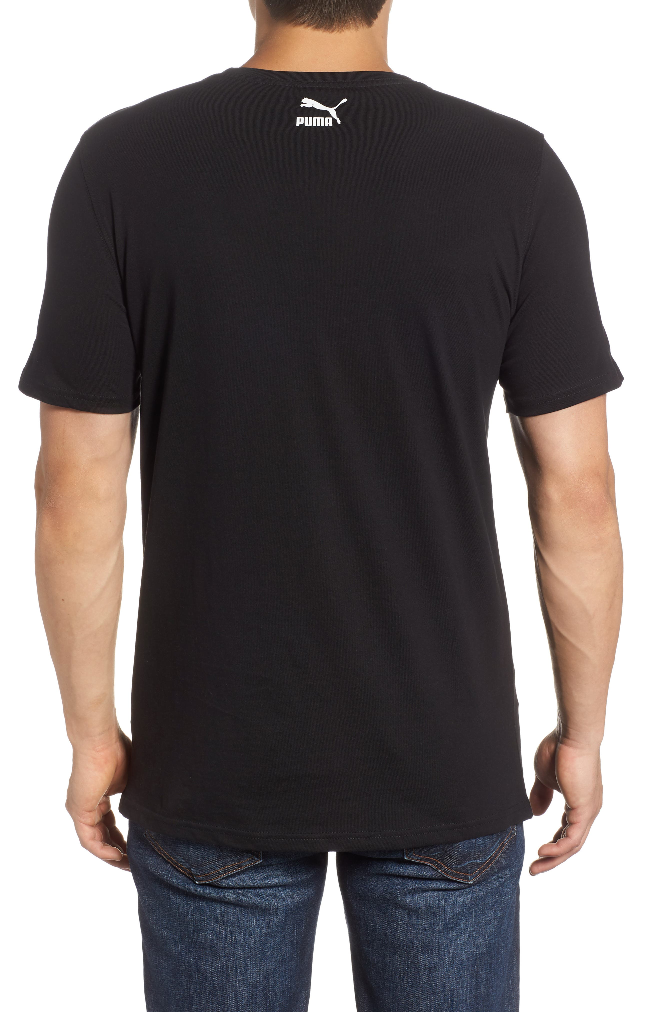 Super PUMA Allover Graphic Regular Fit T-Shirt,                             Alternate thumbnail 2, color,                             COTTON BLACK