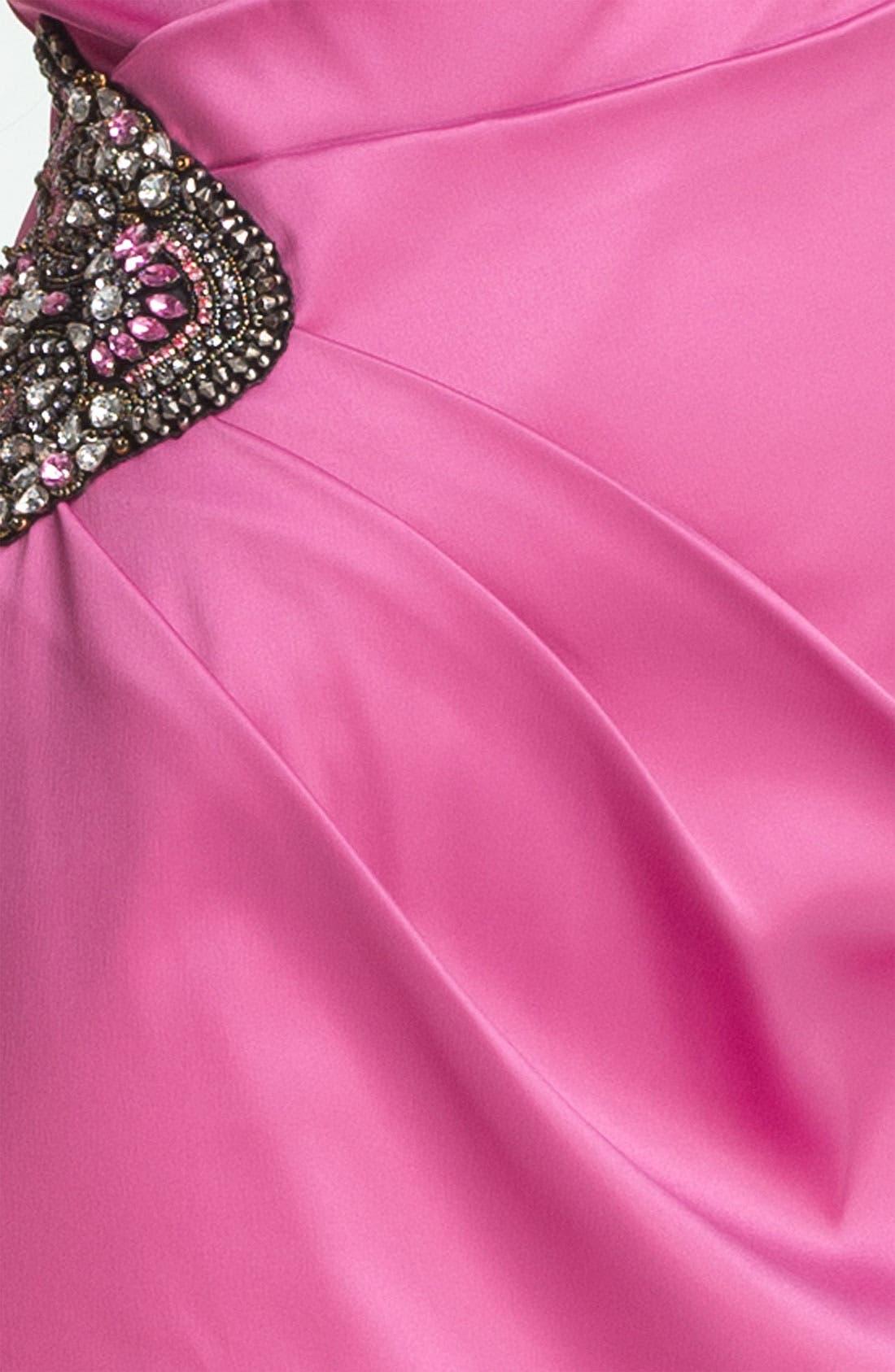 Beaded One-Shoulder Satin Dress,                             Alternate thumbnail 19, color,