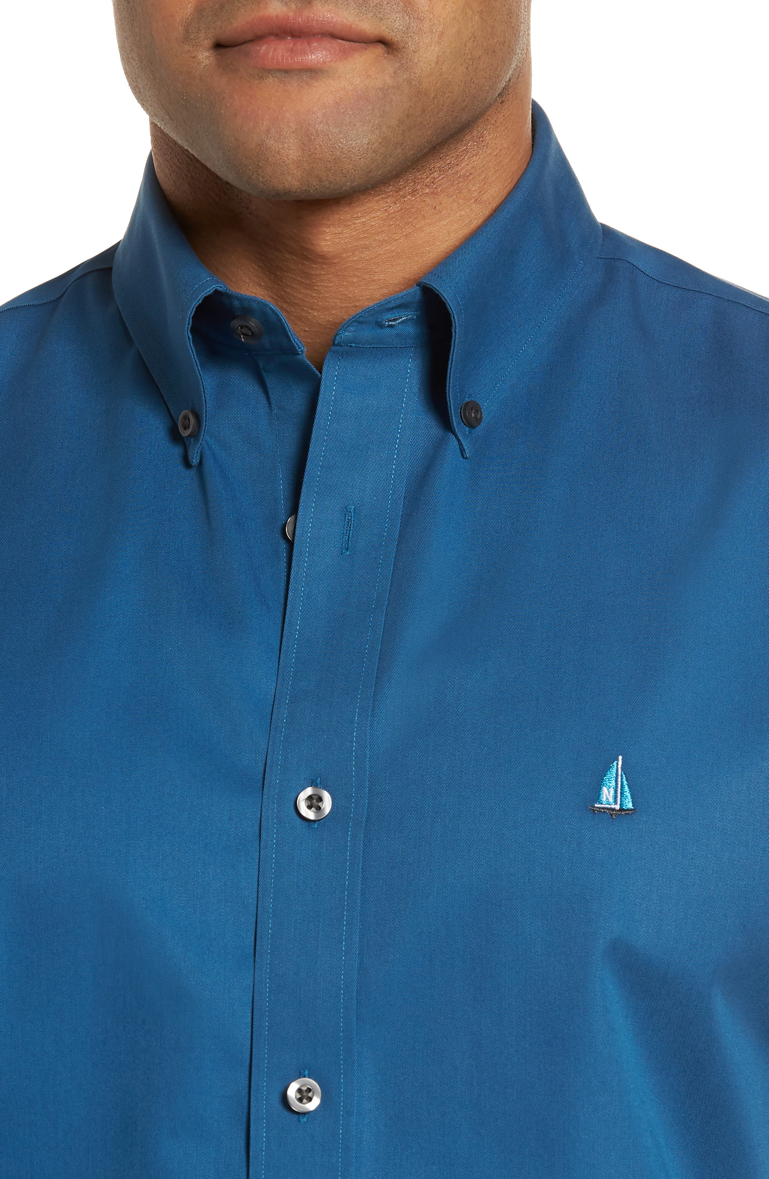 Smartcare<sup>™</sup> Traditional Fit Twill Boat Shirt,                             Alternate thumbnail 4, color,                             BLUE DARK