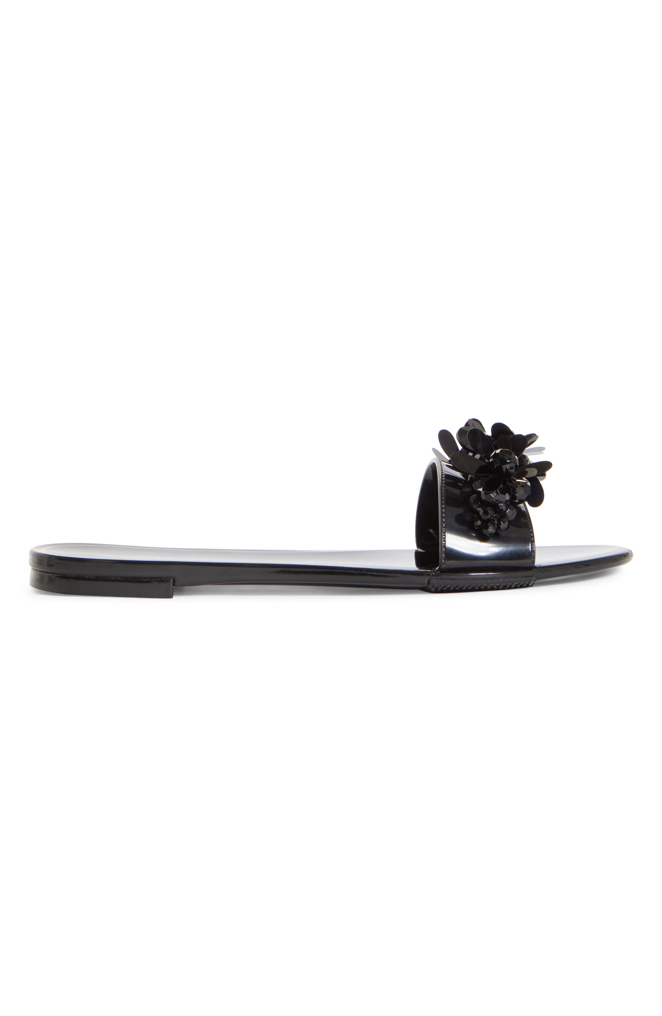 SIMONE ROCHA,                             Embellished Jelly Slide Sandal,                             Alternate thumbnail 3, color,                             BLACK/ JET