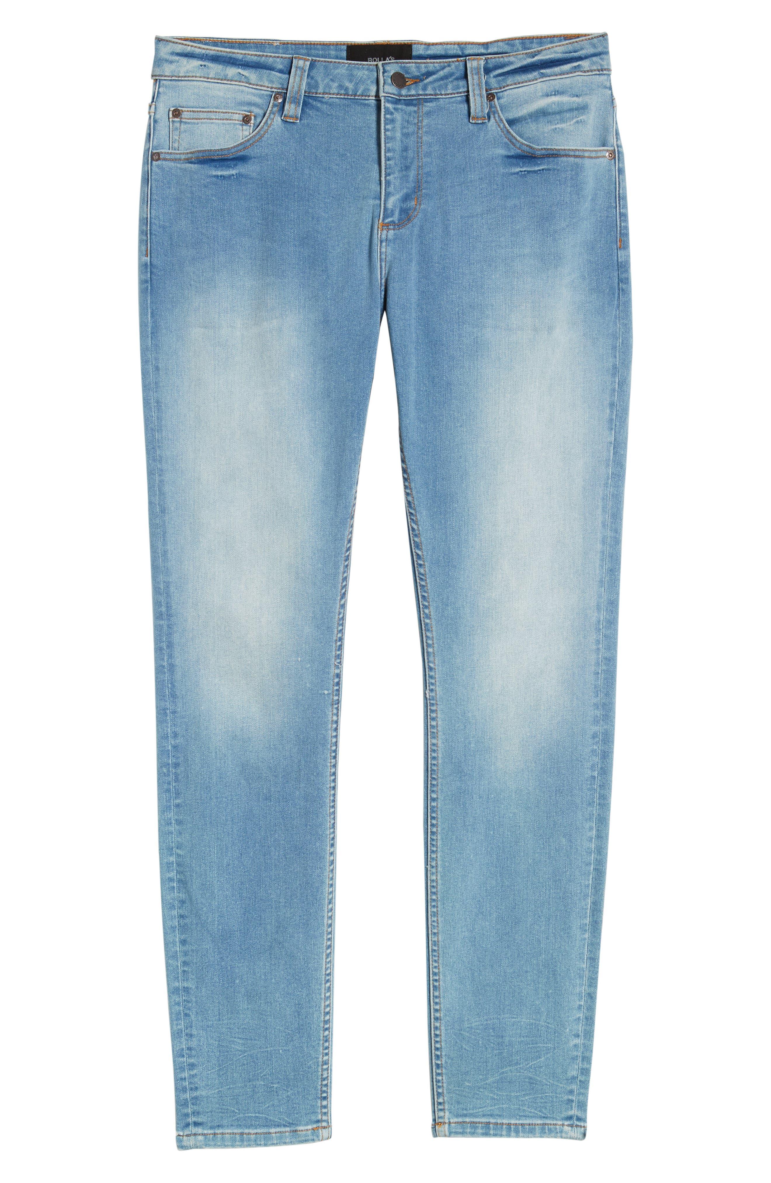 Stinger Skinny Fit Jeans,                             Alternate thumbnail 4, color,                             AUTHENTIC BLUE