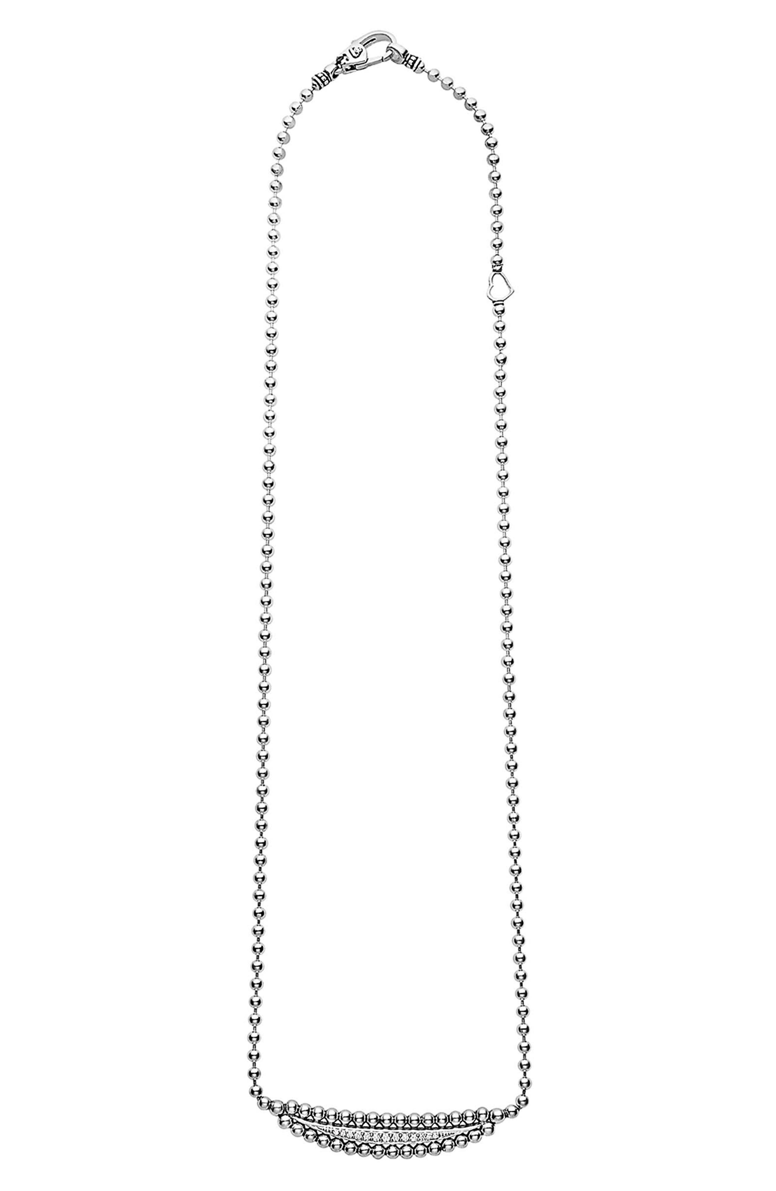 Caviar Spark Diamond Necklace,                             Alternate thumbnail 3, color,                             SILVER/ DIAMOND