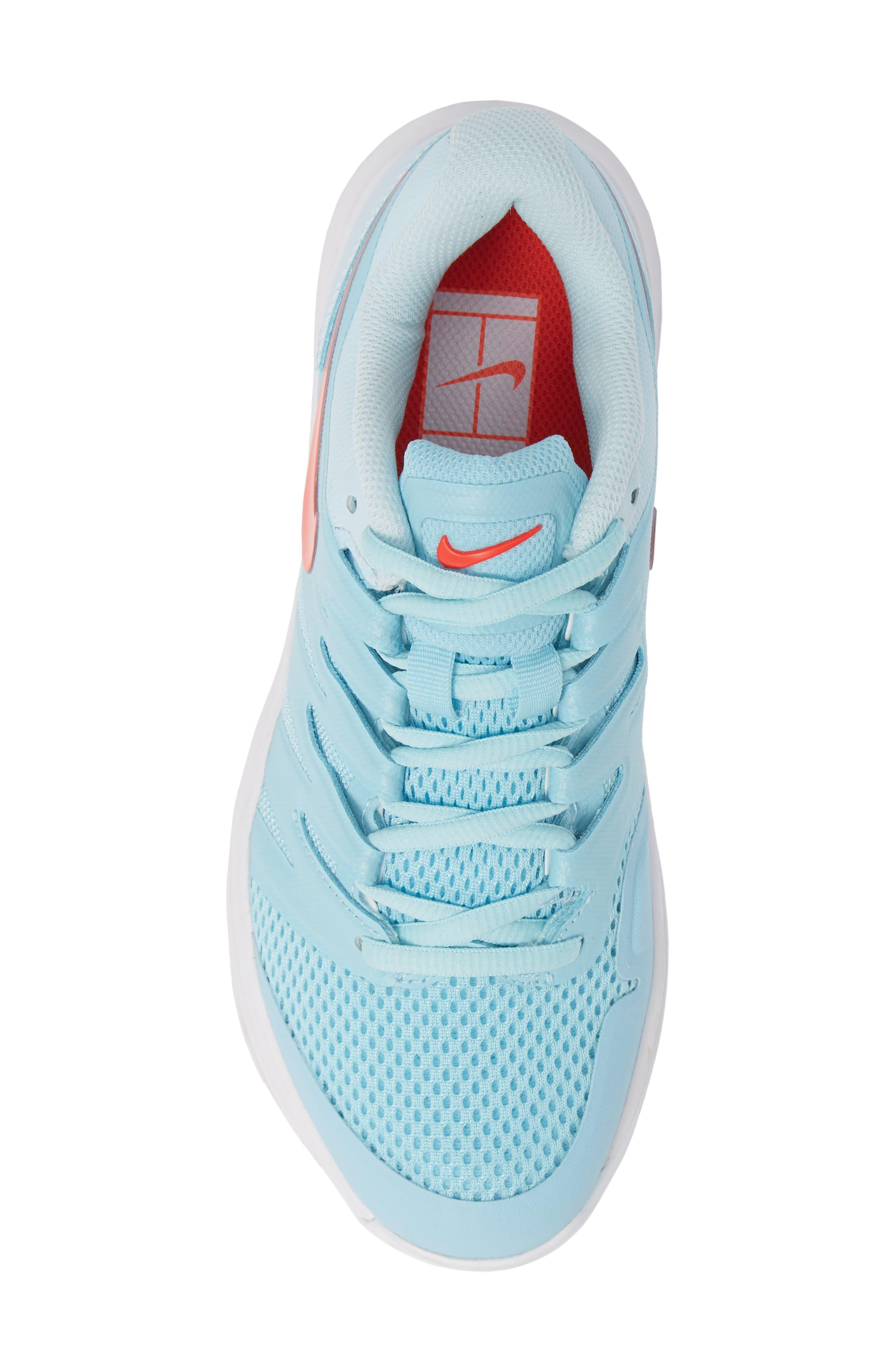 Air Zoom Prestige Tennis Shoe,                             Alternate thumbnail 5, color,                             BLUE/ BRIGHT CRIMSON-TOPAZ