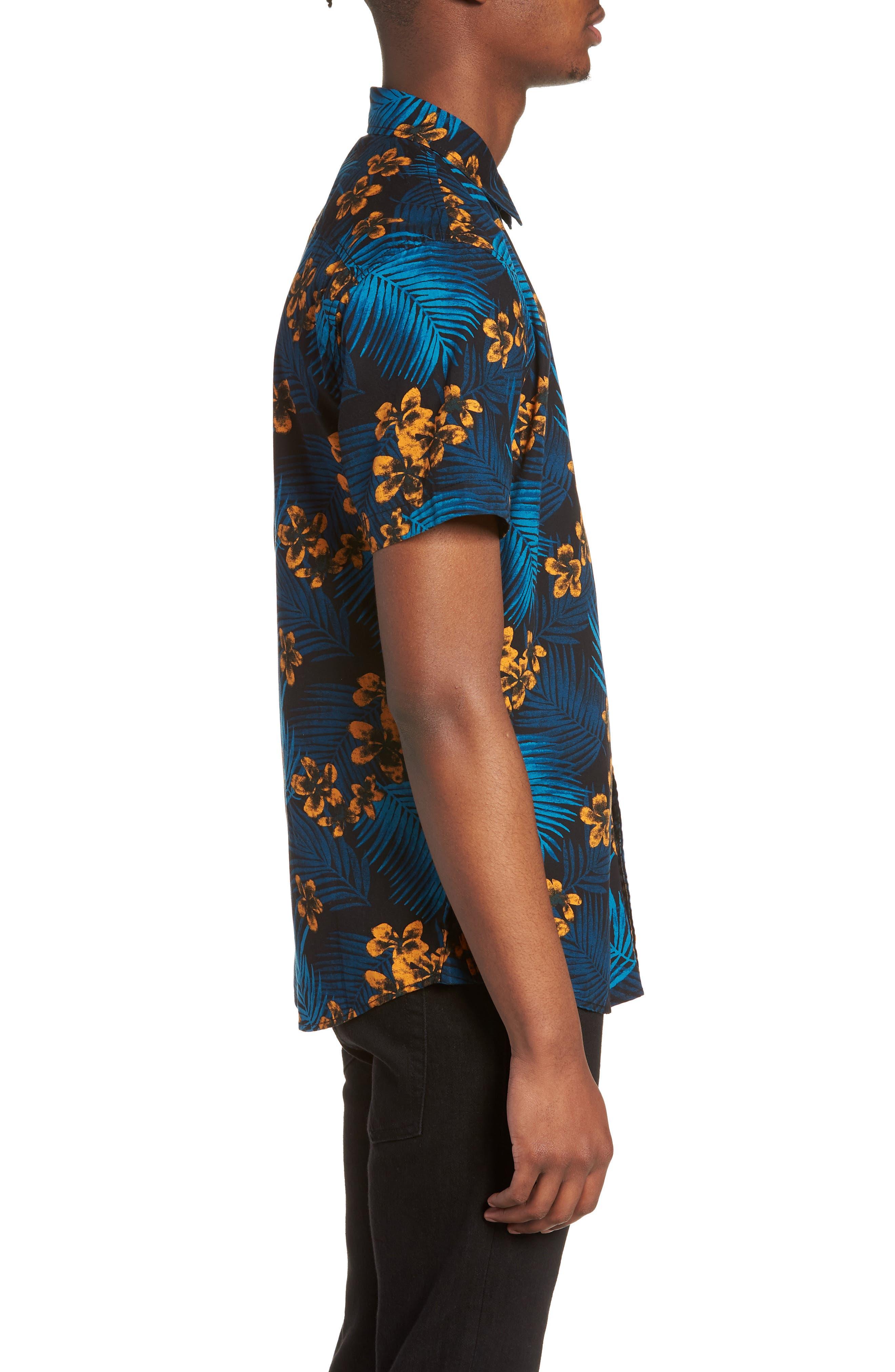 Short Sleeve Print Poplin Shirt,                             Alternate thumbnail 3, color,                             001