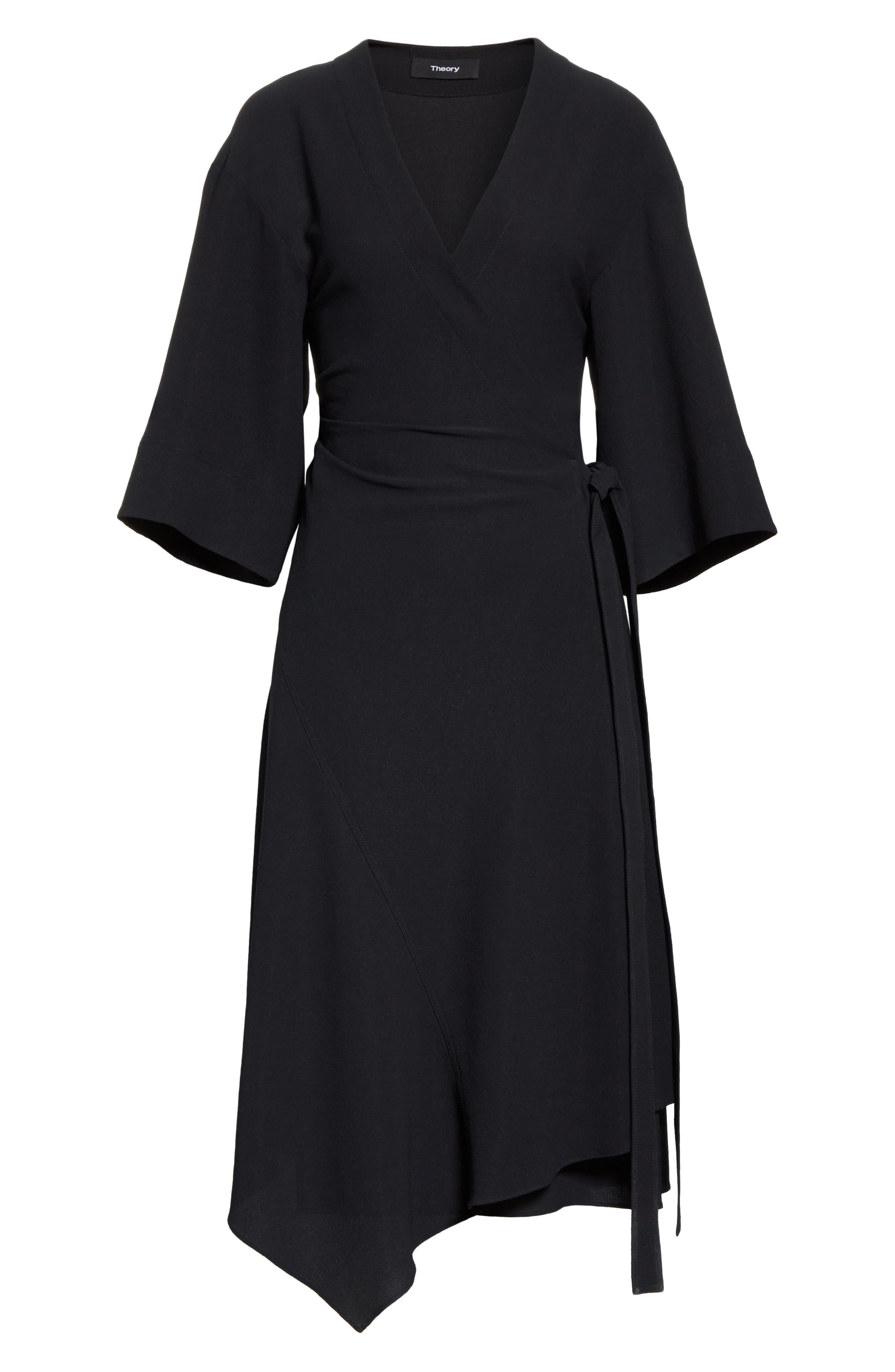 THEORY,                             Kimono Crepe Wrap Dress,                             Alternate thumbnail 6, color,                             001