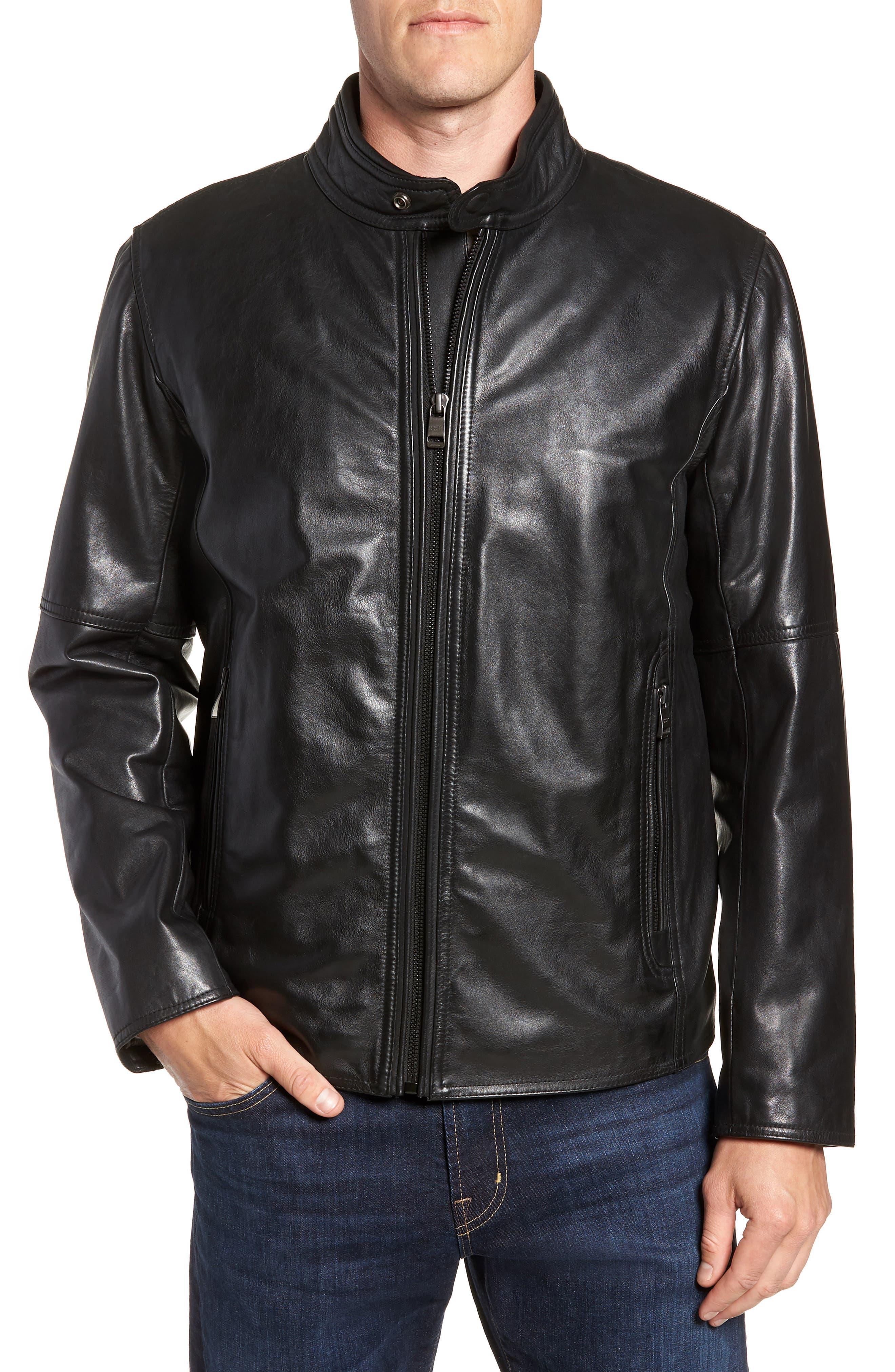 Emerson Lightweight Leather Moto Jacket,                         Main,                         color, BLACK