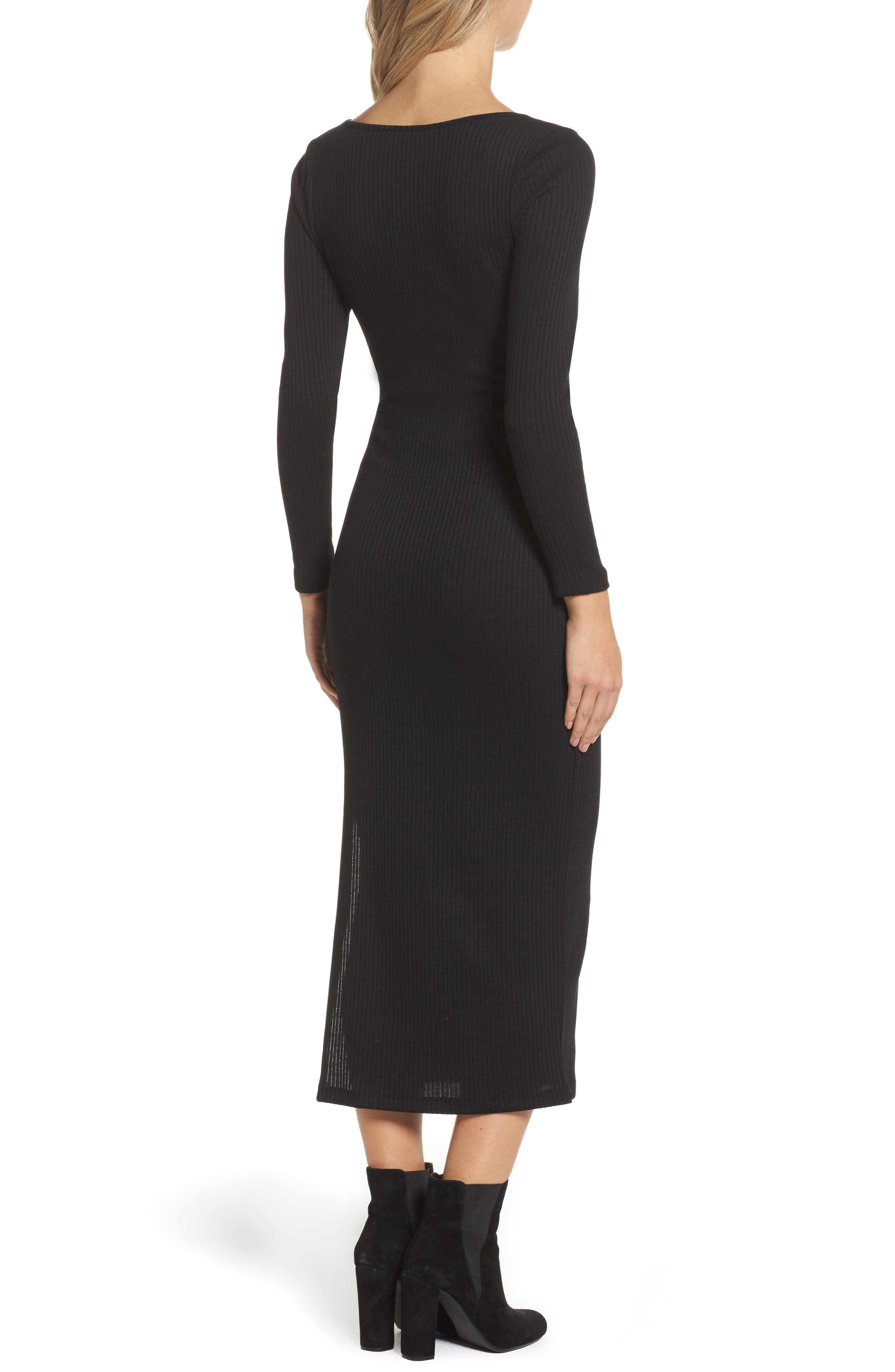 Tommy Ribbed Midi Dress,                             Alternate thumbnail 2, color,                             001