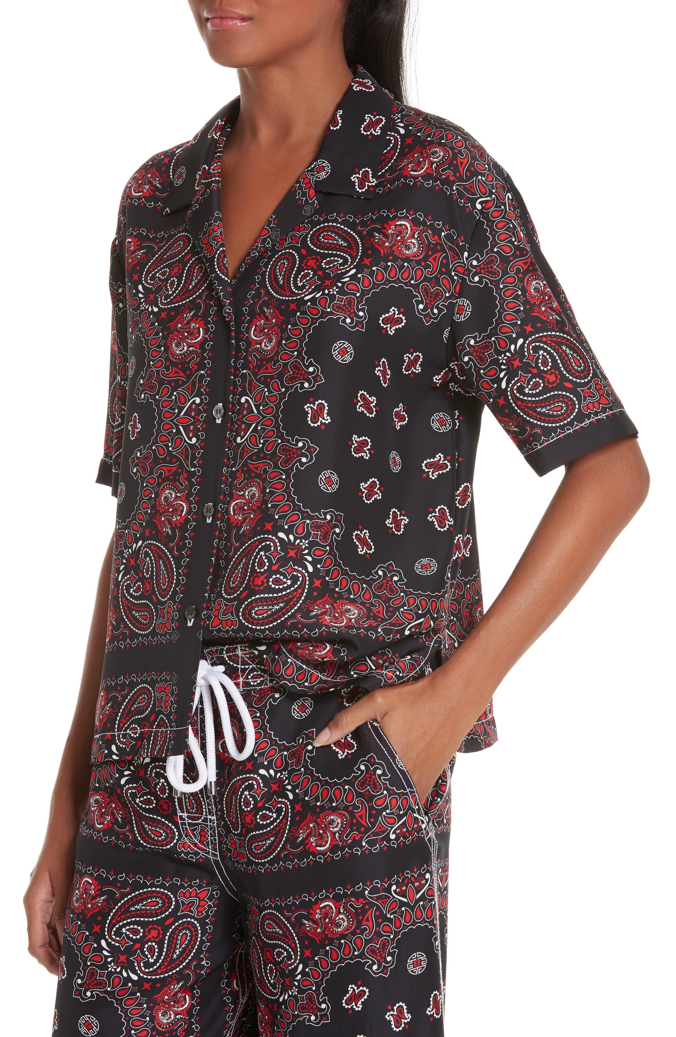 ALEXANDER WANG,                             Bandana Print Silk Shirt,                             Alternate thumbnail 5, color,                             BLACK/ RED