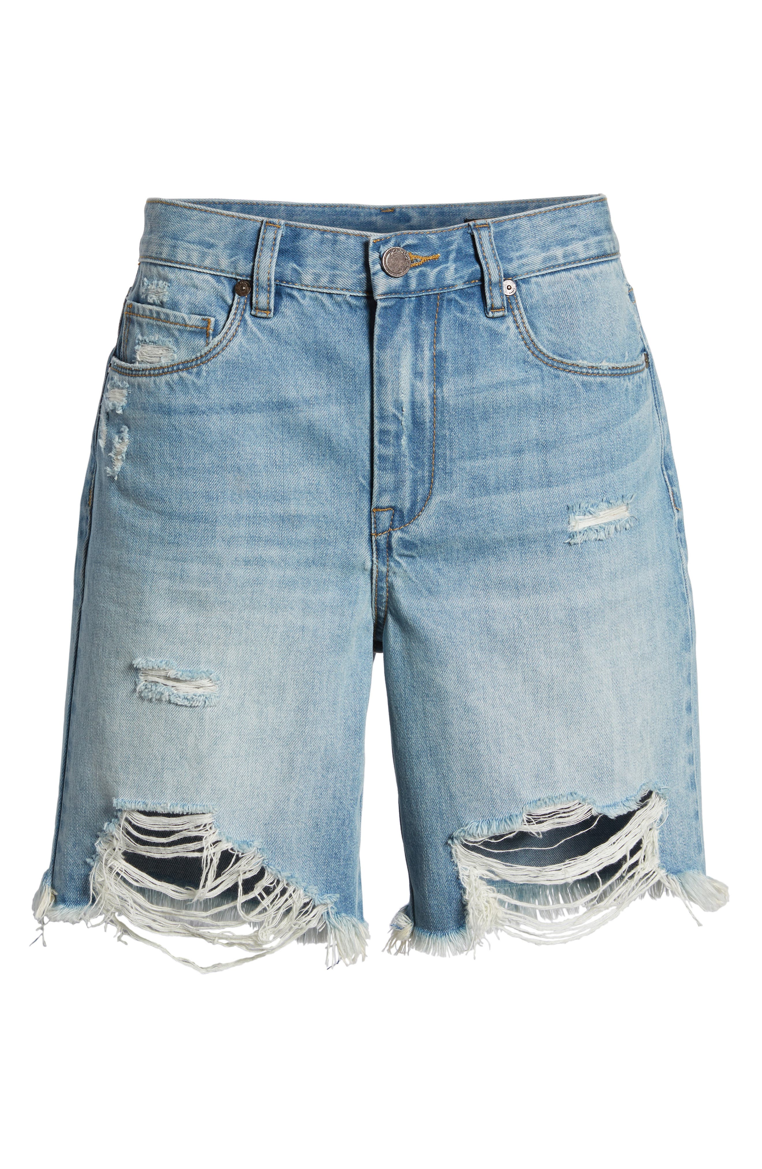 Ripped Denim Shorts,                             Alternate thumbnail 7, color,                             400