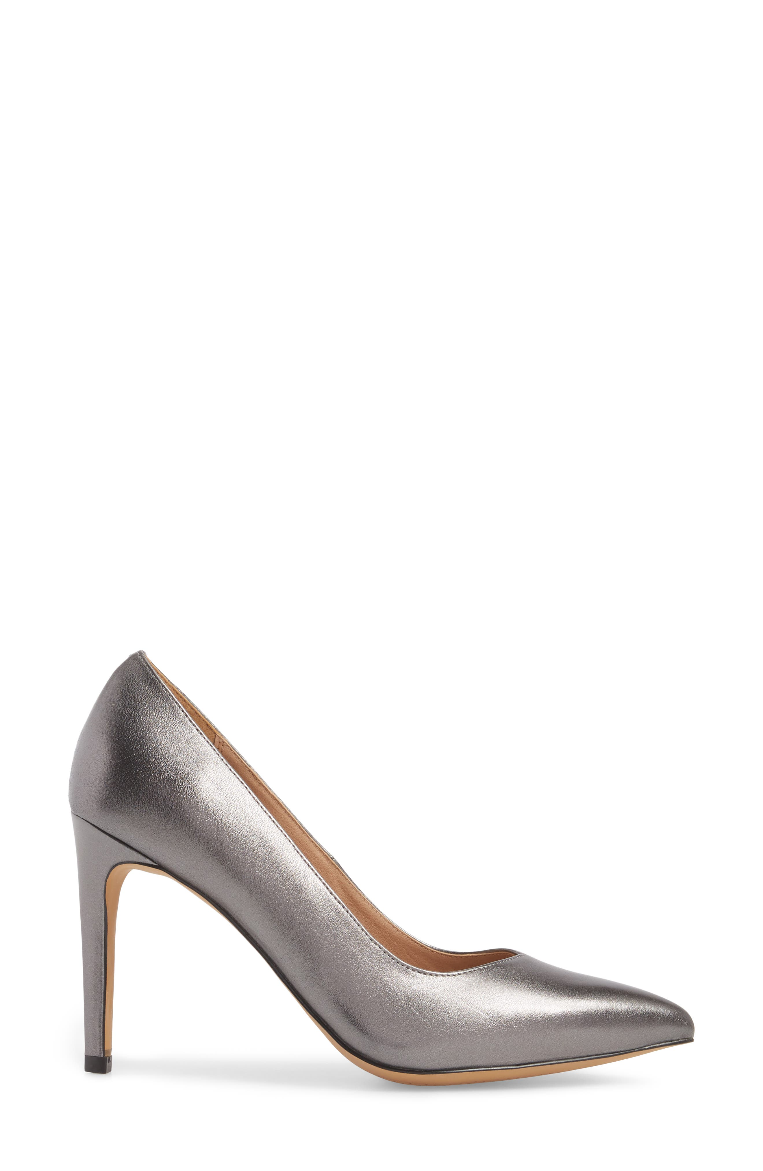 Palma Pointy Toe Pump,                             Alternate thumbnail 3, color,                             GUNMETAL LEATHER