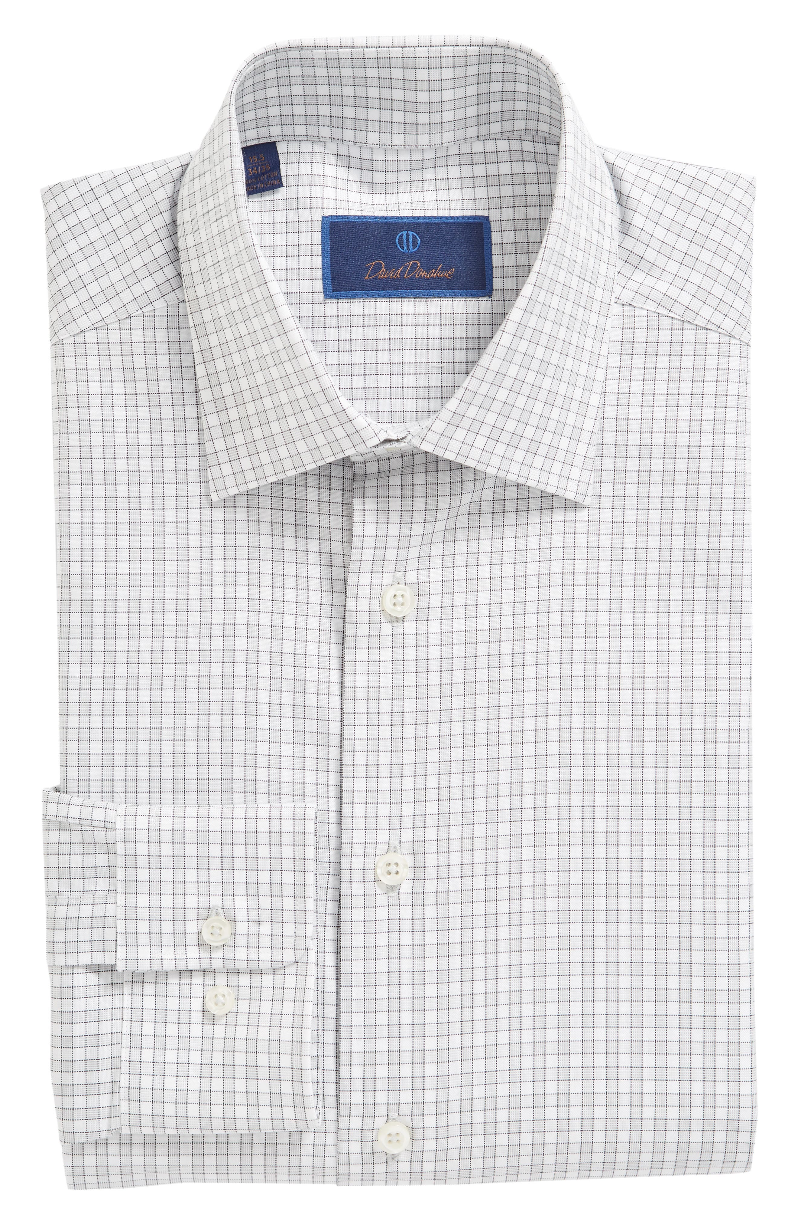 Regular Fit Check Dress Shirt,                             Alternate thumbnail 5, color,                             GRAY