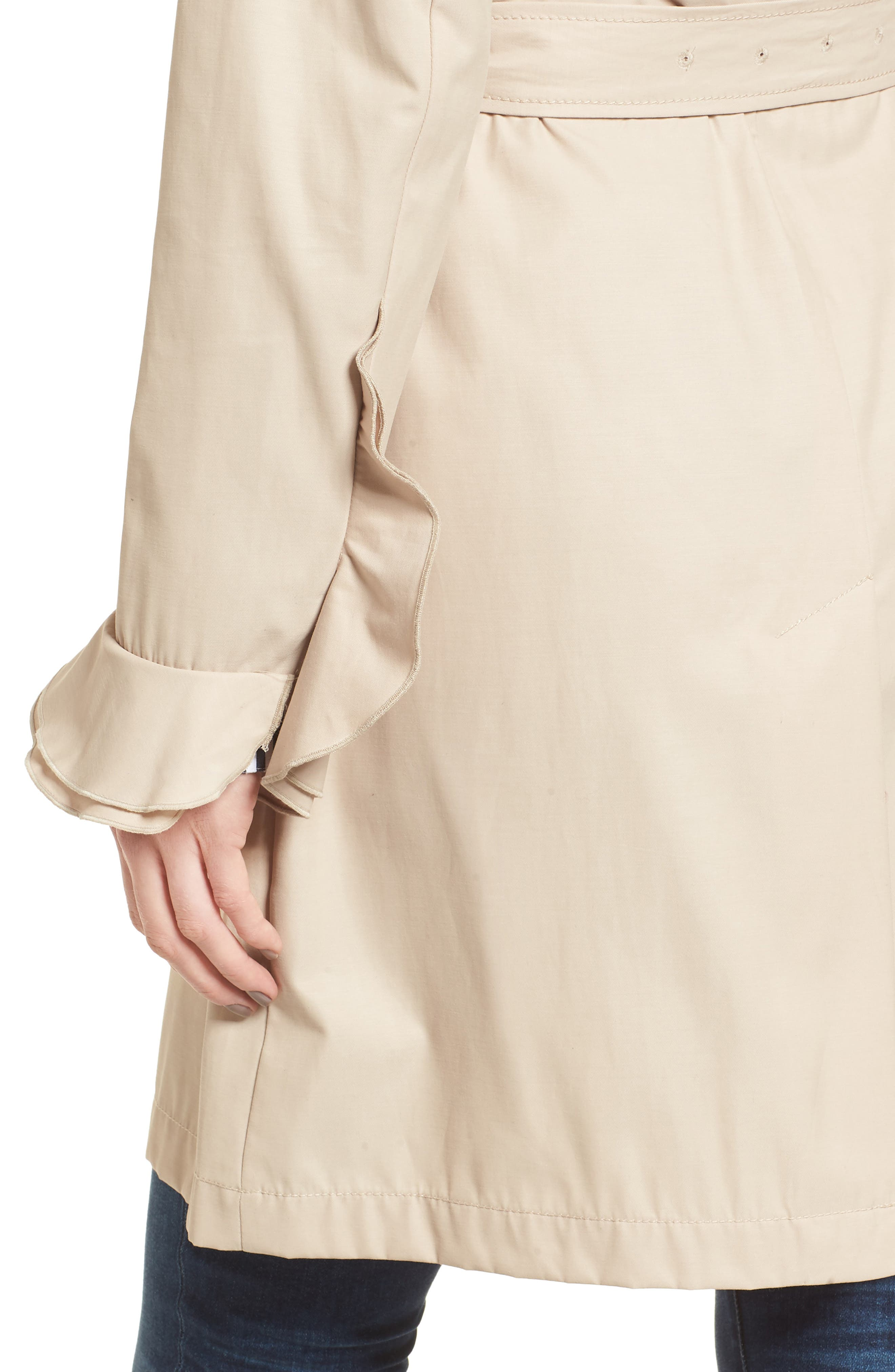 Stella Ruffle Sleeve Trench Coat,                             Alternate thumbnail 4, color,                             250