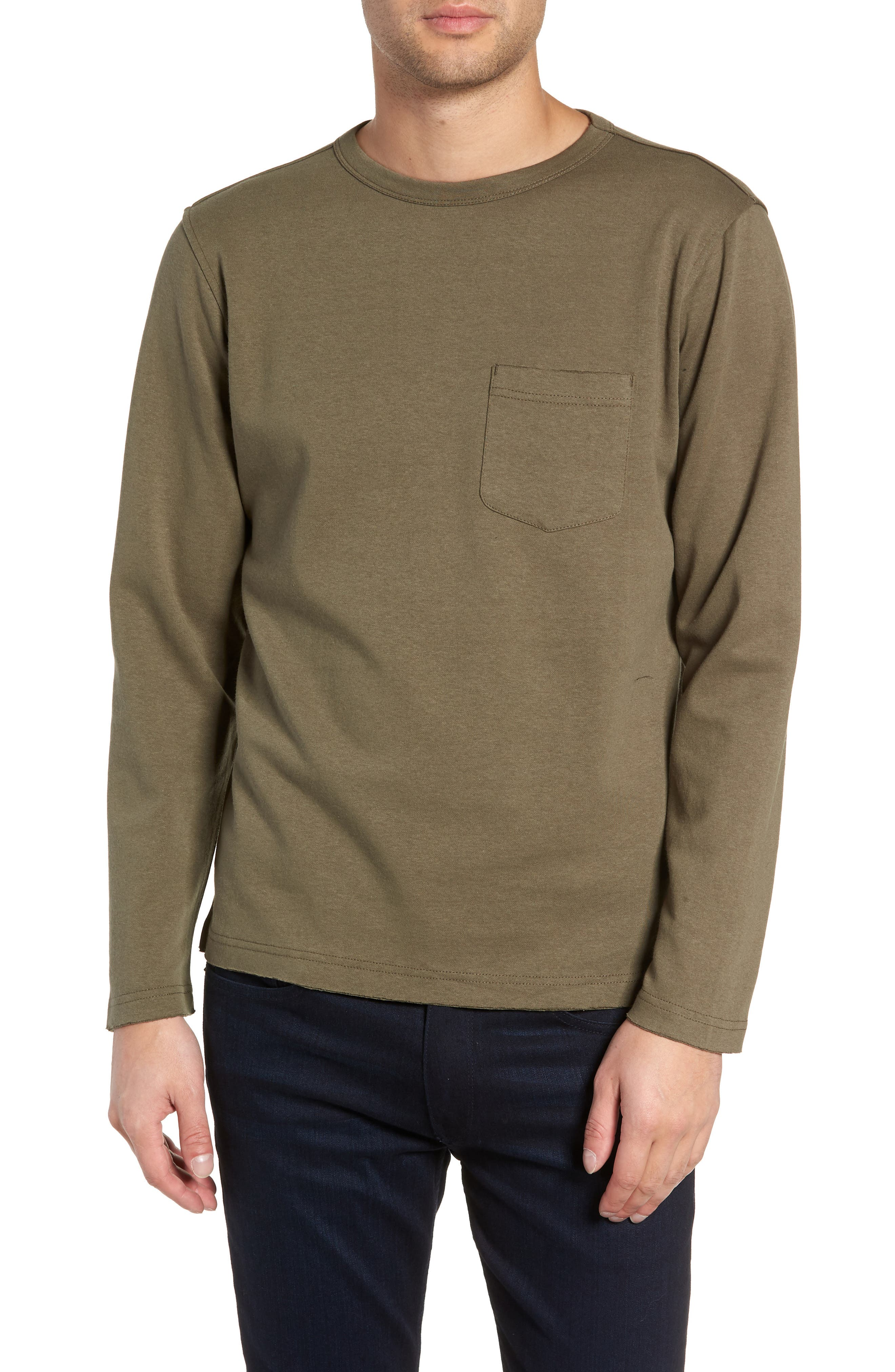 Trim Fit Long Sleeve Pocket T-Shirt,                         Main,                         color, OLIVE