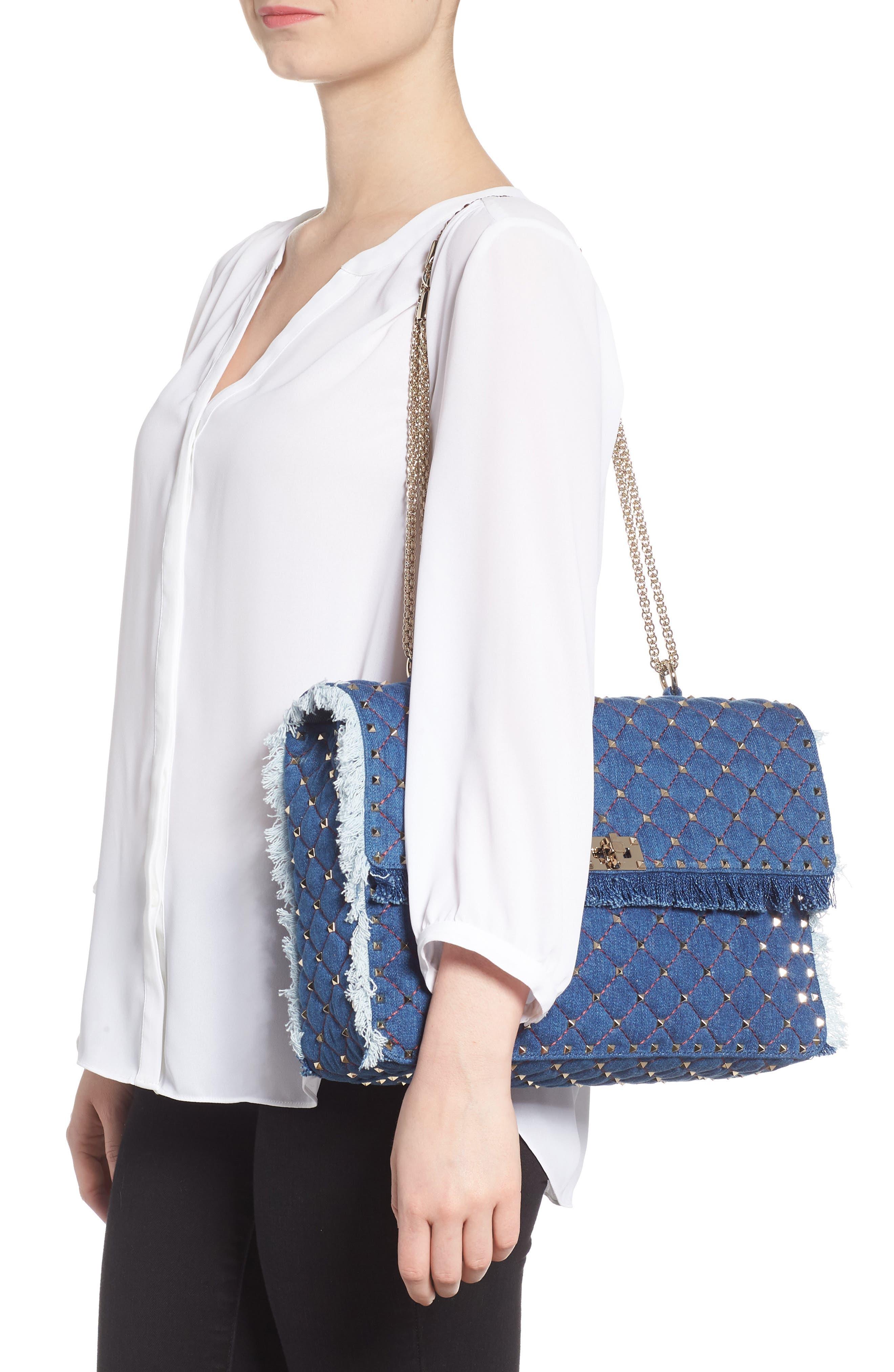 Maxi Rockstud Spike Denim Shoulder Bag,                             Alternate thumbnail 2, color,                             408