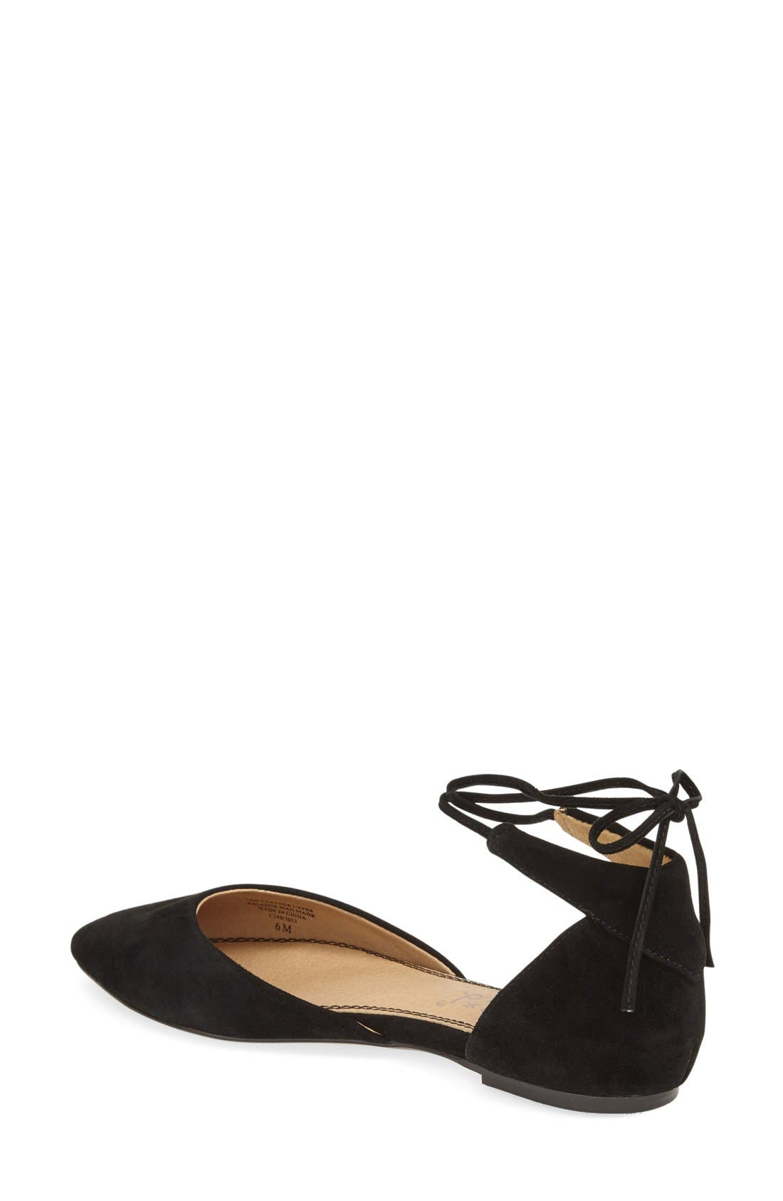 'Annabelle' Lace-Up d'Orsay Flat,                             Alternate thumbnail 2, color,                             001