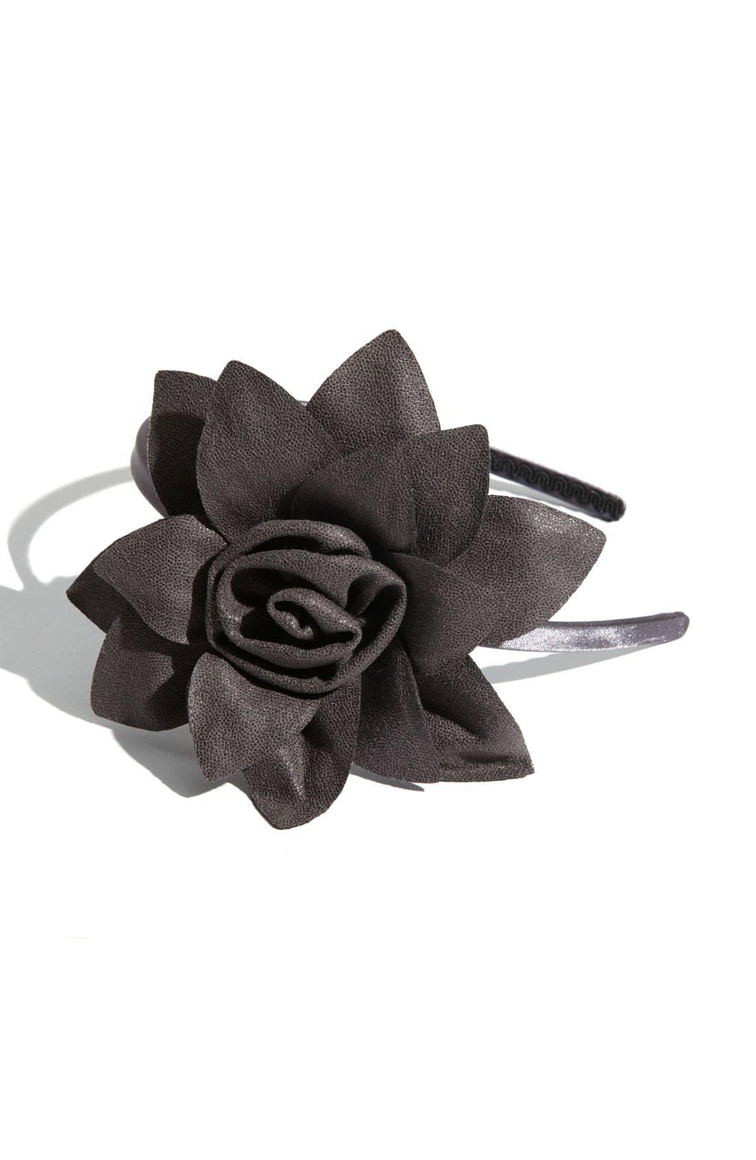 'Boa Rose Flower' Headband,                             Main thumbnail 2, color,