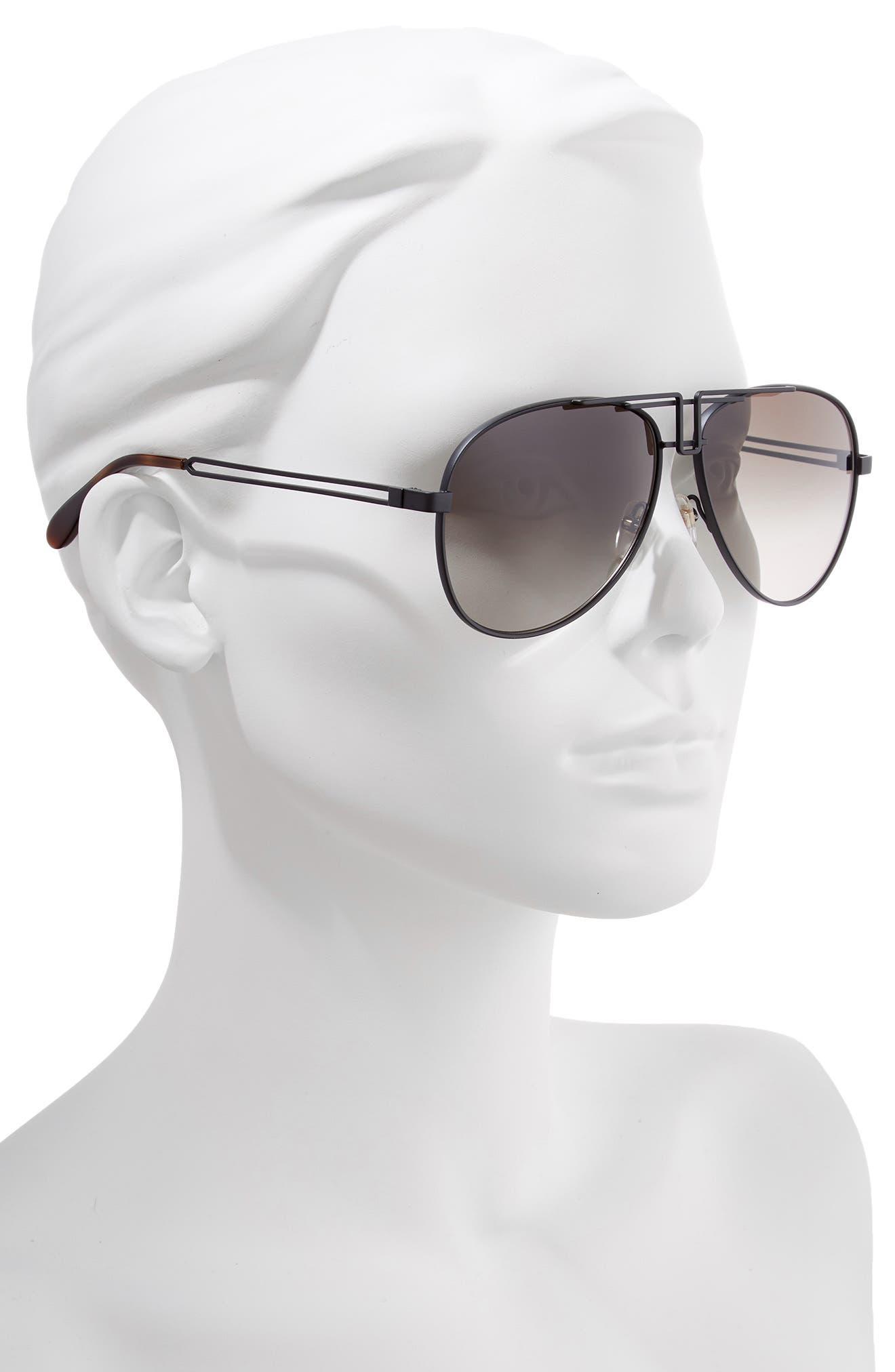 61mm Aviator Sunglasses,                             Alternate thumbnail 2, color,                             MATTE BLACK