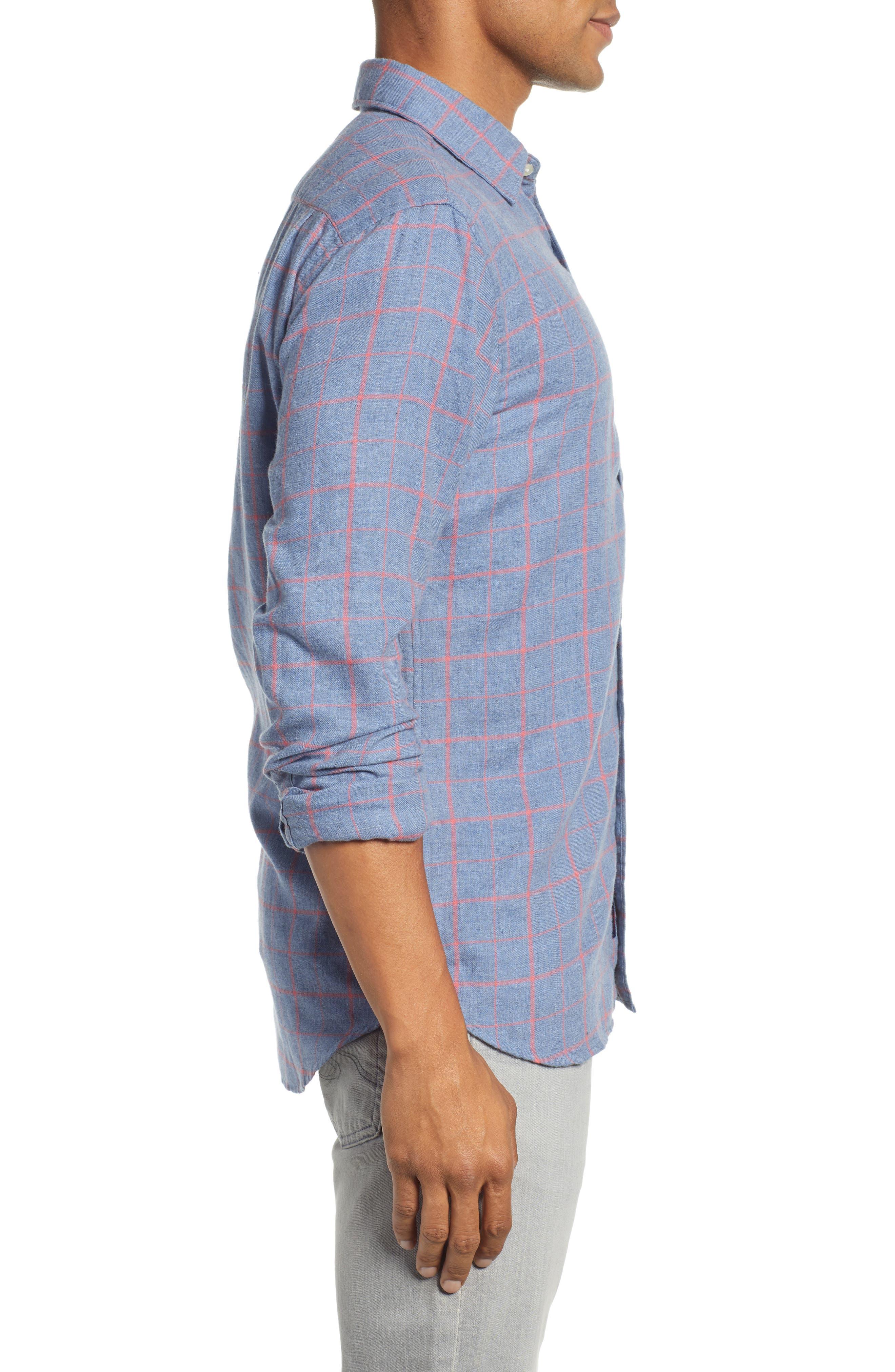 Ventura Windowpane Sport Shirt,                             Alternate thumbnail 4, color,                             BLUE MELANGE WINDOWPANE