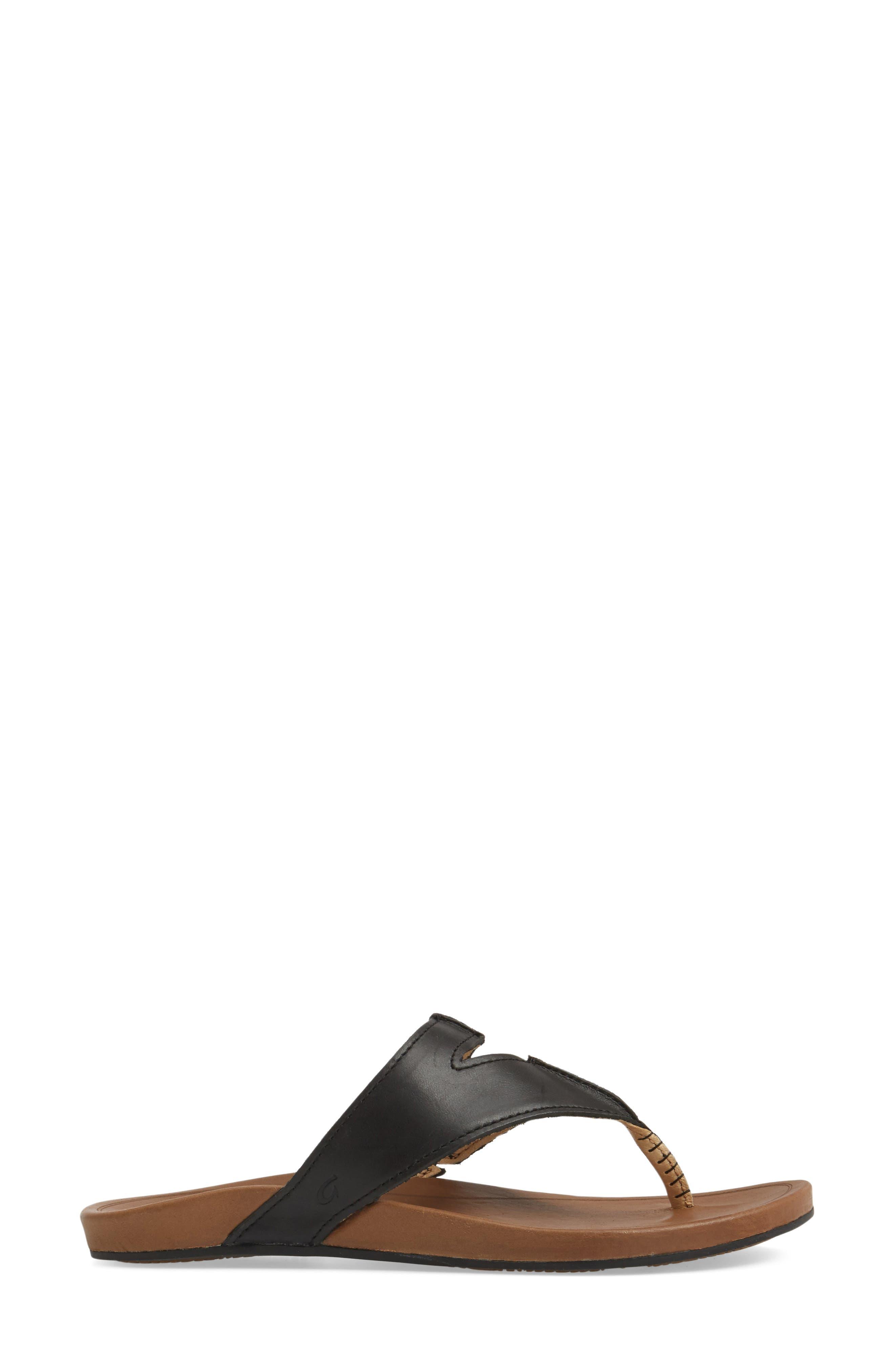 Lala Flip Flop,                             Alternate thumbnail 3, color,                             BLACK/ TAN LEATHER